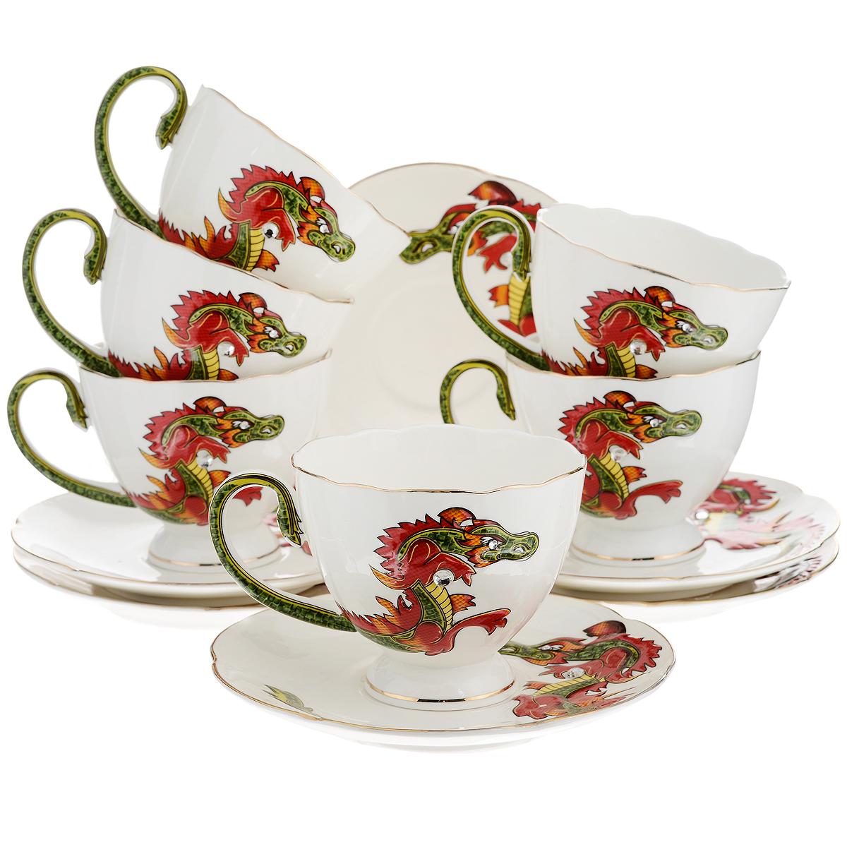 Набор чайный Briswild Яркий дракон, 12 предметов595-069Чайный набор Briswild Яркий дракон, выполненный из высококачественного фарфора, состоит из 6 чашек и 6 блюдец. Изделия оформлены золотой каемкой и изображением дракона со стразами. Элегантный дизайн и совершенные формы предметов набора привлекут к себе внимание и украсят интерьер вашей кухни. Чайный набор Briswild Яркий дракон идеально подойдет для сервировки стола и станет отличным подарком к любому празднику.Чайный набор упакован в подарочную коробку. Не использовать в микроволновой печи. Не применять абразивные чистящие вещества.