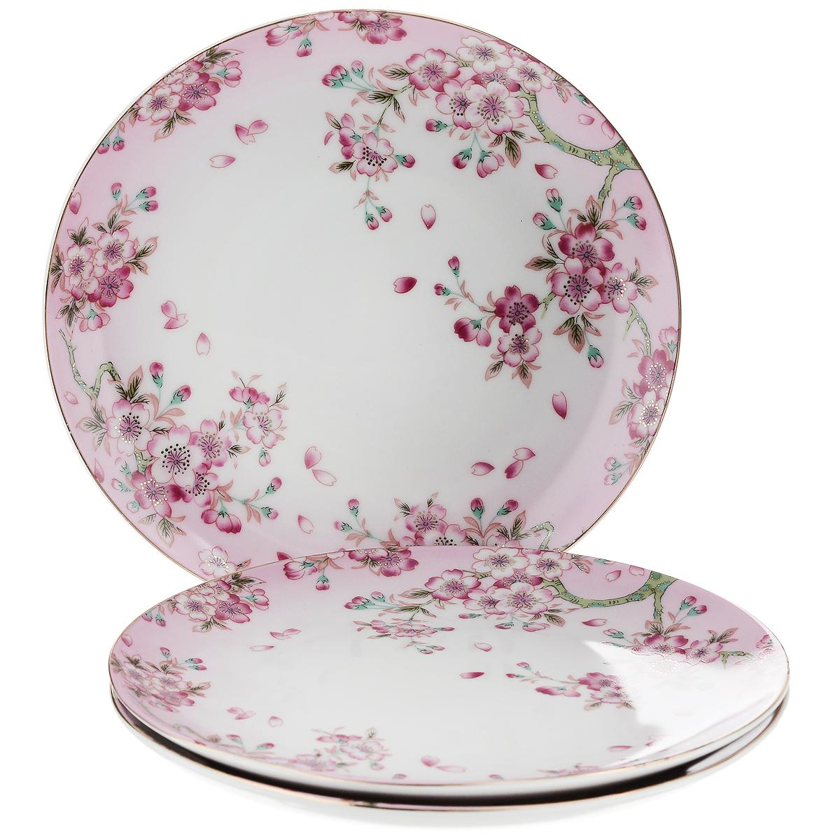 Набор тарелок Saguro Нежность, диаметр 18,5 см, 3 штD2380Набор Saguro Нежность состоит из трех тарелок, изготовленных из фарфора. Изделия оформлены золотой каемкой и изображением цветущего дерева.Такие тарелки сочетают в себе изысканный дизайн с максимальной функциональностью. Красочность оформления придется по вкусу тем, кто предпочитает утонченность и изящность. Оригинальные тарелки украсят сервировку вашего стола и подчеркнут прекрасный вкус хозяйки, а также станут отличным подарком. Не использовать в микроволновой печи. Не применять абразивные чистящие вещества.