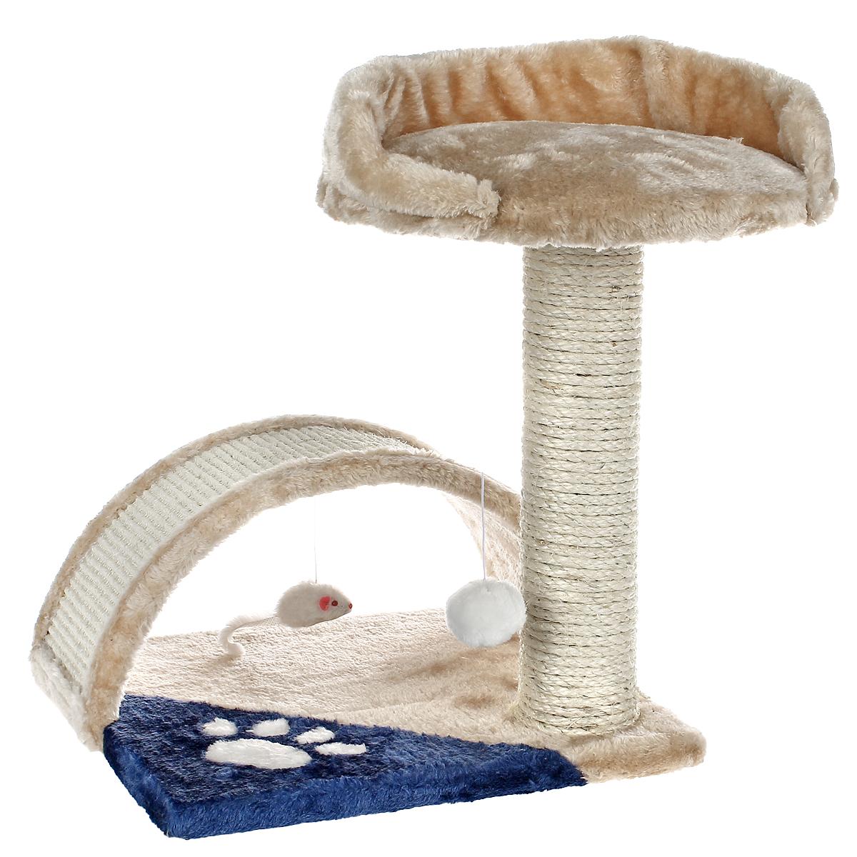 Когтеточка I.P.T.S., цвет: бежевый, голубой, 35 см х 35 см х 42 см12171996Когтеточка I.P.T.S. выполнена из высококачественного ДСП, обтянута мягким плюшем и предназначена для активных кошек. Когтеточка выполнена в виде столбика и мостика и состоит из двух уровней. Столбик обтянут сизалем, натуральным прочным материалом. Он поможет приучить кошку точить коготки в строго определенном месте. Целый дом будет в распоряжении у вашей кошки. Разные уровни высоты, когтеточка, место для отдыха в игровом комплексе позволят кошке резвится и точить коготки, а игрушки, прикрепленные к когтеточкам развлекут кошку.