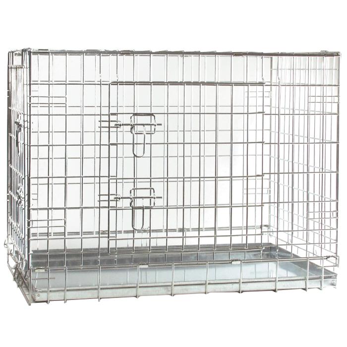 Клетка для собак I.P.T.S., 89 см х 60 см х 66 см0120710Удобная двухдверная клетка I.P.T.S. предназначена для собак мелких и средних пород. Идеально подходит для транспортировки и содержания собак во время проведения выставки. Клетка выполнена из стальной проволоки. Клетка оснащена двумя дверями (передней и боковой), которые надежно закрываются на замки. Прочный поддон не повреждает поверхность, на которой размещается. Сверху имеется ручка для переноски.