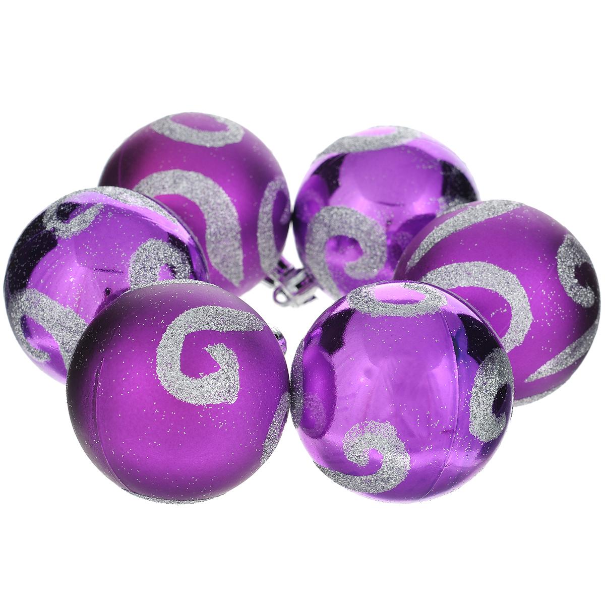"""Набор новогодних подвесных украшений """"Шар"""", цвет: фиолетовый, диаметр 6 см, 6 шт. 35549"""