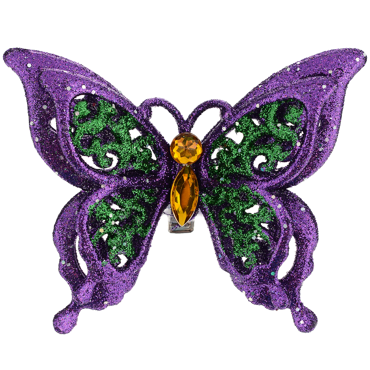 Новогоднее украшение Бабочка, цвет: фиолетовый. 3507434432Оригинальное новогоднее украшение из пластика прекрасно подойдет для праздничного декора дома и новогодней ели. Изделие крепится на елку с помощью металлического зажима.