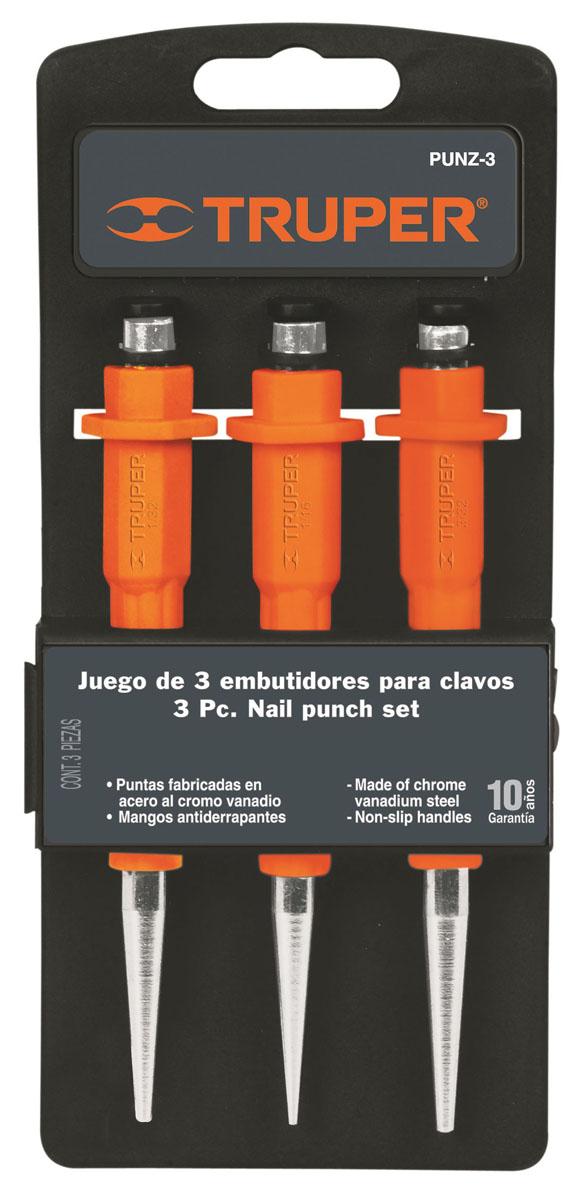 Набор добойников Truper, 3 шт98293777Кернеры Truper предназначены для пробивания отверстий в заготовках или вырезания пазов. Инструменты выполнены из хром-ванадиевой стали, что обеспечивает долгий срок эксплуатации. Резиновые рукоятки обеспечивают надежный и удобный хват. На конце рукоятки расположен протектор, по которому наносятся удары.В набор входят кернеры размером 3/32, 1/16, 1/32.