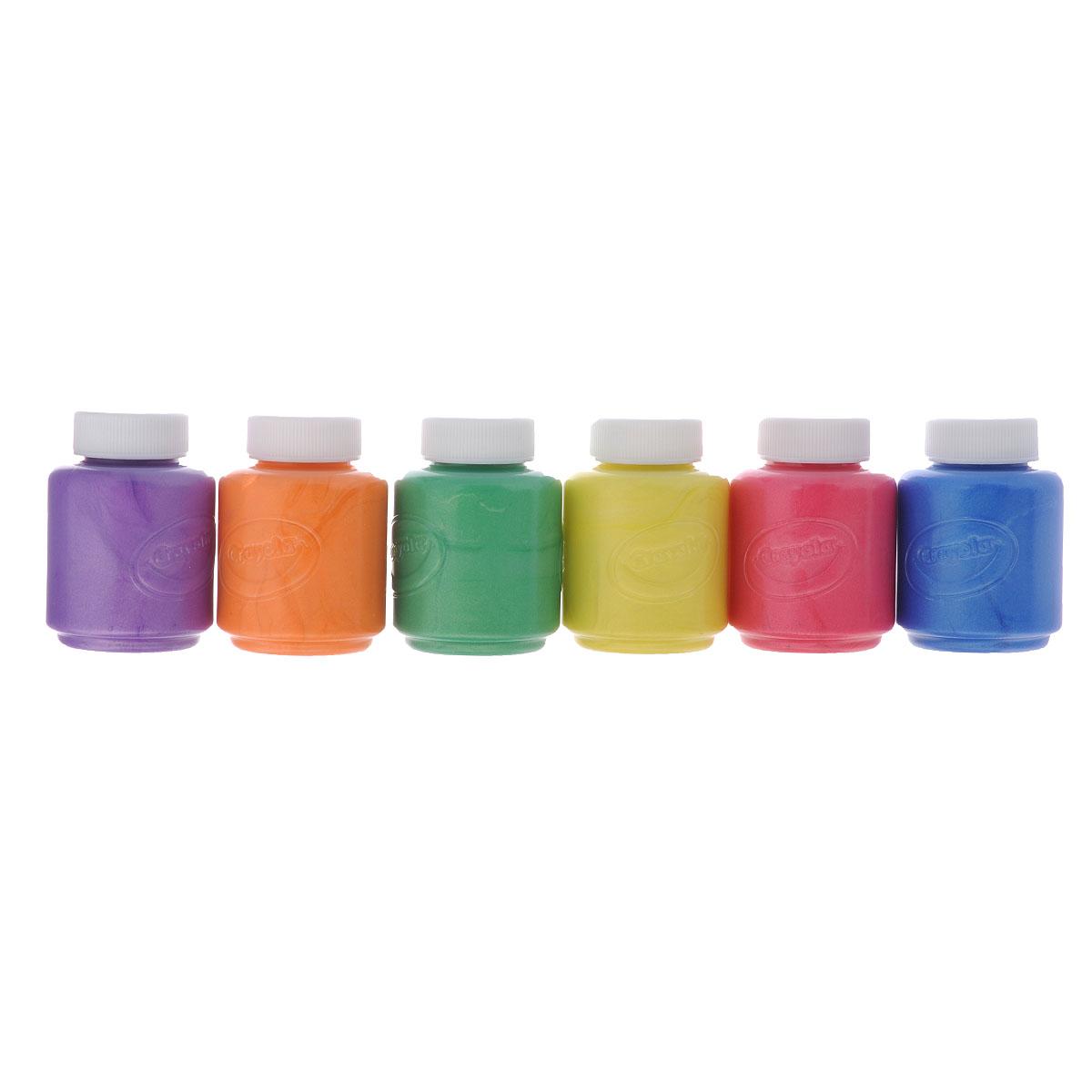 Краски пальчиковые Crayola, с металлическим эффектом, 6 цветов54-5000Пальчиковые краски Crayola порадуют маленького художника и помогут ему раскрыть свой талант. Ими можно рисовать не только на бумаге, но на картоне и стекле без каких-либо дополнительных приспособлений.В наборе краски с металлическим эффектом в баночках по 59 мл 6 цветов: фиолетового, желтого, зеленого, розового, синего, оранжевого.Краски Crayola с металлическим эффектом помогут вам декорировать любые плакаты, постеры, сделать оригинальными картинки в раскрасках, добавить изюминку в ваши рисунки.Краска каждого цвета хранится в отдельной пластиковой баночке с плотно закрывающейся крышкой.Эти нетоксичные краски полностью безопасны для детского здоровья. Они легко смываются не только с кожи, но и с одежды - когда ваш юный художник закончит свой творческий процесс, вам будет легко привести в порядок не только его самого, но и его одежду и рабочее место, куда могли попасть капли краски.