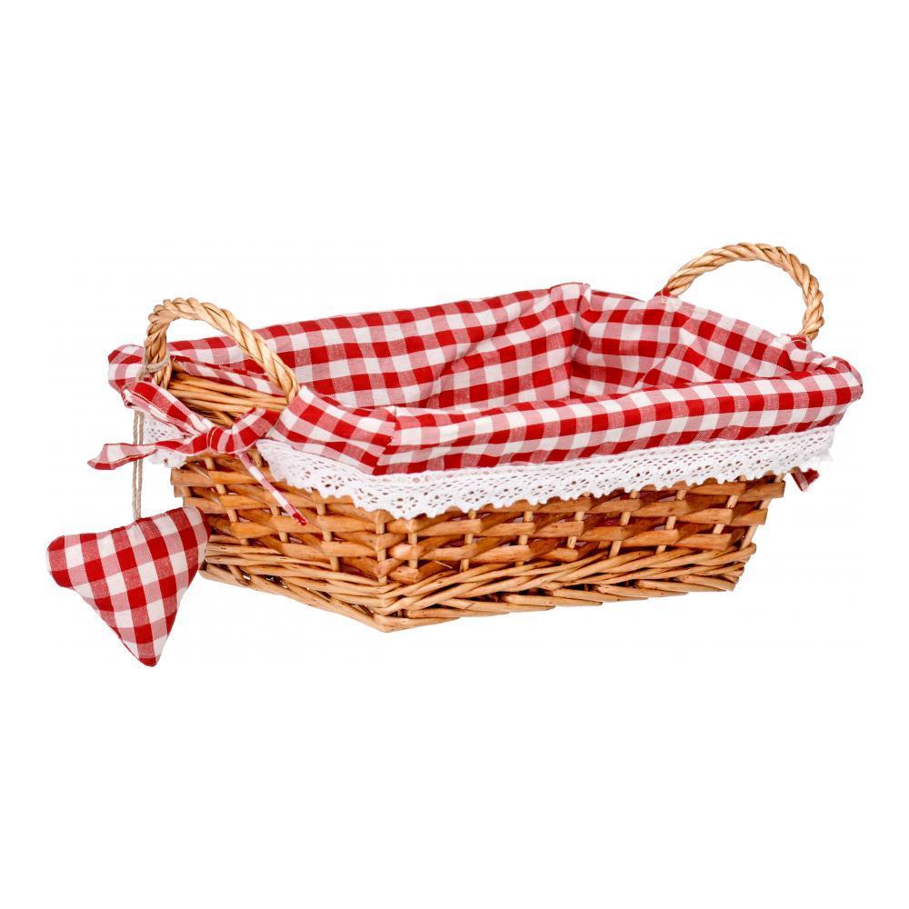 Корзинка для хлеба Premier, прямоугольная, цвет: красный, 25 х 18 х 13 смFD-59Прямоугольная корзинка для хлеба Premier сплетена из лозы. На внутреннюю поверхность корзинки надет хлопковый чехол с рисунком в красную клетку, благодаря ему крошки не просыпаются на стол. Корзинка оснащена двумя удобными ручками и украшена текстильной подвеской в виде сердечка.В холодный зимний день приятная цветовая гамма корзинки в сочетании с оригинальным дизайном навевают воспоминания о лете, тем самым способствуя улучшению настроения и полноценному отдыху.