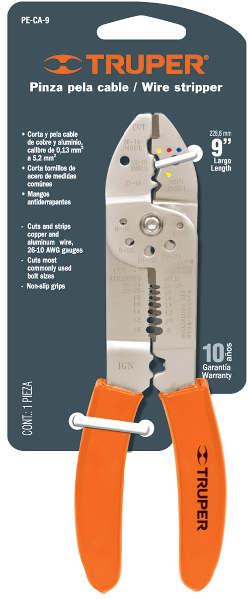 Инструмент для зачистки и обрезки проводов Truper, 23 смCA-3505Инструмент для зачистки и обрезки проводов Truper. 7 размеров для зачистки. 4 размера для обжима. Сатинированное покрытие металлической части, которое в 3 раза лучше защищает от коррозии. Обрезиненные рукоятки обеспечивают надежный хват.
