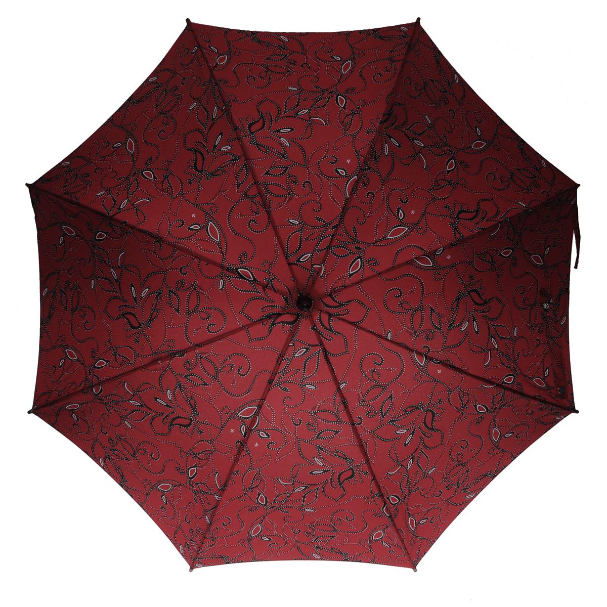 """Зонт-трость женский Fulton, механический, цвет: бордовый. L05645100032/35449/3537AМодный механический зонт-трость """"Fulton"""" даже в ненастную погоду позволит вам оставаться стильной и элегантной. Облегченный каркас зонта состоит из 8 спиц из фибергласса и деревянного стержня. Купол зонта выполнен из прочного полиэстера и оформлен витиеватым цветочным узором, дополненным белым крапом. Изделие оснащено удобной рукояткой из дерева.Зонт механического сложения: купол открывается и закрывается вручную до характерного щелчка.Модель закрывается при помощи двух ремней с кнопками.Такой зонт не только надежно защитит вас от дождя, но и станет стильным аксессуаром, который идеально подчеркнет ваш неповторимый образ."""