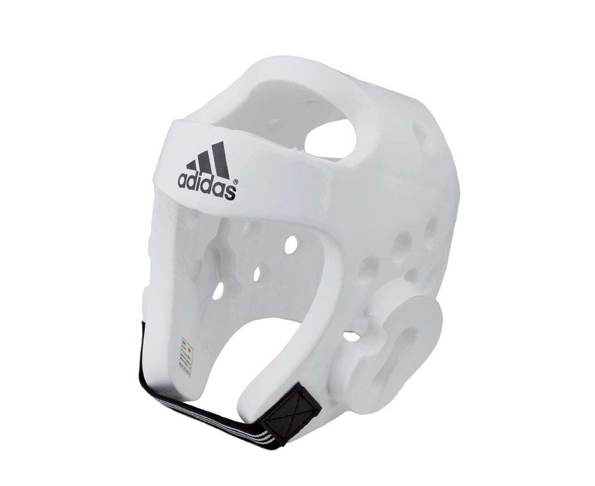 Шлем для тхэквондо Adidas Taekwondo Head Guard Dipped Foam WTF, цвет: белый. adiTHG01. Размер LadiTHG01