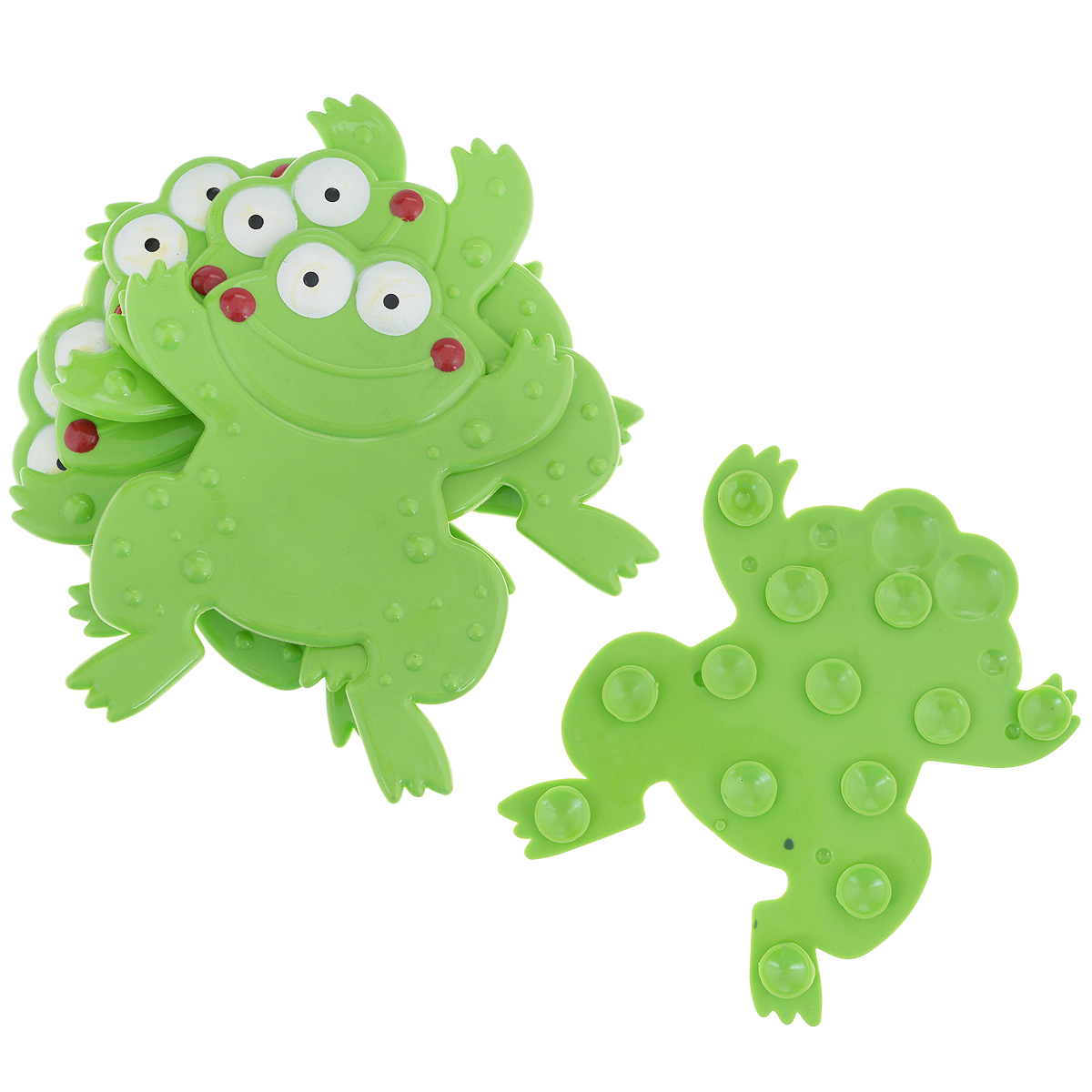 Набор мини-ковриков для ванной Лягушка, цвет: зеленый, 6 шт531-105Набор Лягушка включает шесть мини-ковриков для ванной. Изготовлены из PVC (полимерные материалы). Коврики оснащены присосками, предотвращающими скольжение. Крепятся на дно ванны, также можно использовать как декор для плитки. Легко чистить.