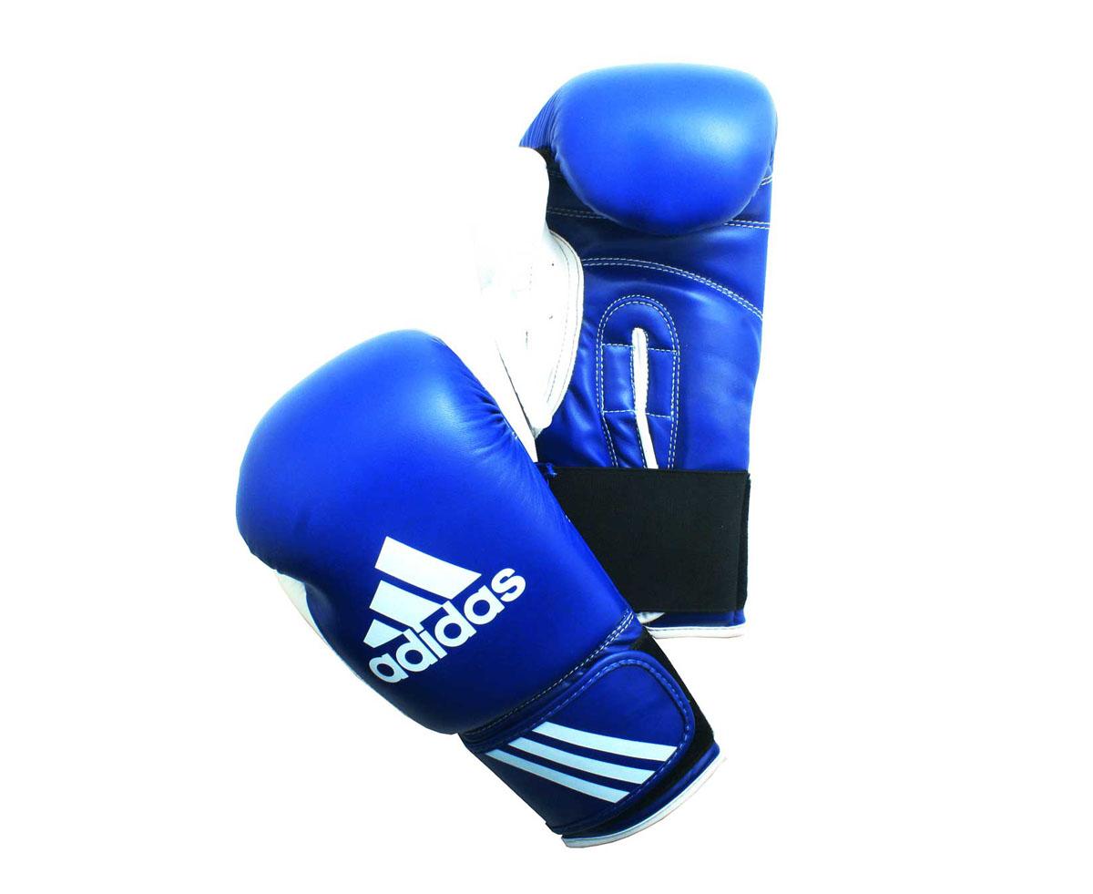 Перчатки боксерские Adidas Response, цвет: сине-белый. adiBT01. Вес 8 унцийAIBAG1Тренировочные боксерские перчатки Adidas Response. Сделаны из прочной искусственной кожи (PU3G), удобно сидят на руке. Фиксация на липучке. Внутренний наполнитель из формованной под давлением пены с интегрированной внутренней вставкой из геля, выполненной по технологии I-Protech.