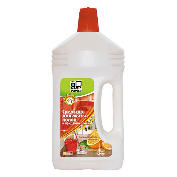 Средство для мытья полов и придания блеска Magic Power, с апельсиновым маслом, 1 л391602Средство Magic Power предназначено для мытья полов и придания блеска. Идеально моет и ухаживает за ламинатом, паркетом, линолеумом, искусственным и натуральным камнем, плиткой и деревом. Легко удаляет грязь и пятна, не оставляя разводов. Покрывает поверхность пола защитной пленкой, оставляет приятный и нежный аромат апельсина. Не содержит мастика и полимеров. Подходит для ручной мойки и использования в моющих машинах. Обладает пеногасящим эффектом.