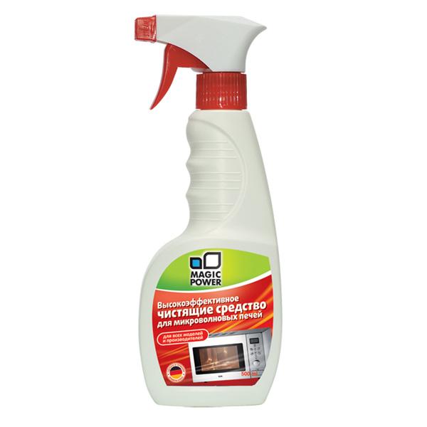 Чистящее средство для микроволновых печей Magic Power, 500 млUltra Slim 420/110 BЧистящее средство Magic Power эффективно удаляет жировые отложения с внутренних поверхностей микроволновой печи. В отличие от порошков, это средство обеспечивает антибактериальный эффект - удаляются все микроорганизмы и бактерии. Это позволяет готовить пищу в наилучших гигиенических условиях. Без запаха, абсолютно безопасно и не токсично. Не оставляет никаких следов на очищаемой поверхности. Безопасно для окружающей среды, биологически перерабатывается более чем на 90%.Подходит для всех моделей микроволновых печей.