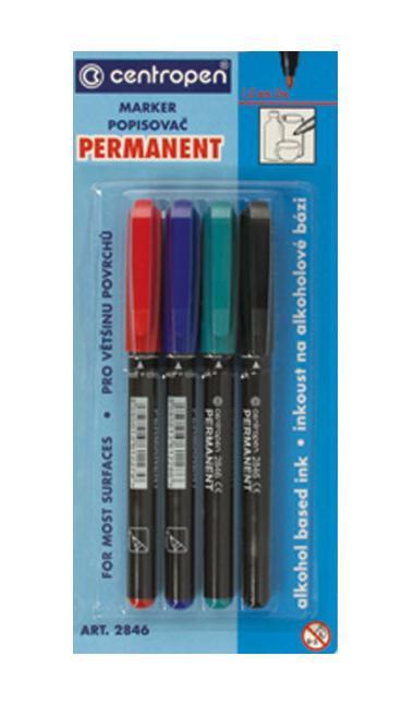 Набор перманентных маркеров Centropen, 4 цвета. 2846/4PVC2846/4PVCХарактеристики: Длина маркера:13,5 см. Диаметр маркера:1 см. Тощина линии:1 мм. Диаметр наконечника:2 мм.