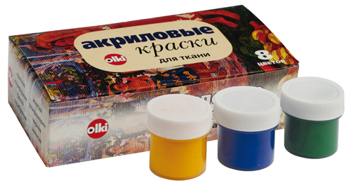 Набор акриловых красок для ткани Olki, 8 цветовГл_6952Набор акриловых красок Olki предназначен для свободной росписи или нанесения трафаретного рисунка на различные виды тканей.Краски имеют яркие цвета и обладают хорошей светостойкостью и полностью совместимы между собой. Все краски могут разбавляться водой, но для достижения лучших результатов рекомендуется использовать специальный разбавитель. Время закрепления 3-5 минут.Стирать расписные изделия следует при 30-40°C с умеренной концентрацией нейтральных моющих средств. Цвета: красный, изумрудный, белый, серебряный, желтый, ультрамарин, черный, золотой.