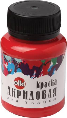 Краска акриловая для тканей Olki, цвет: красный, 100 млFS-54115Акриловая краска для тканей Olki - высококачественная краска для росписи любых тканей. Наносится на выстиранную, отглаженную, натянутую ткань. После высыхания фиксируется с обратной стороны утюгом в течение 3-5 минут при температуре, соответствующей типу ткани. Краска разбавляется водой или акриловым связующим. Стирка изделий при температуре не более 40°C и умеренной концентрации нейтральных моющих средств через 48 часов после нанесения рисунка. Краска быстро высыхает.