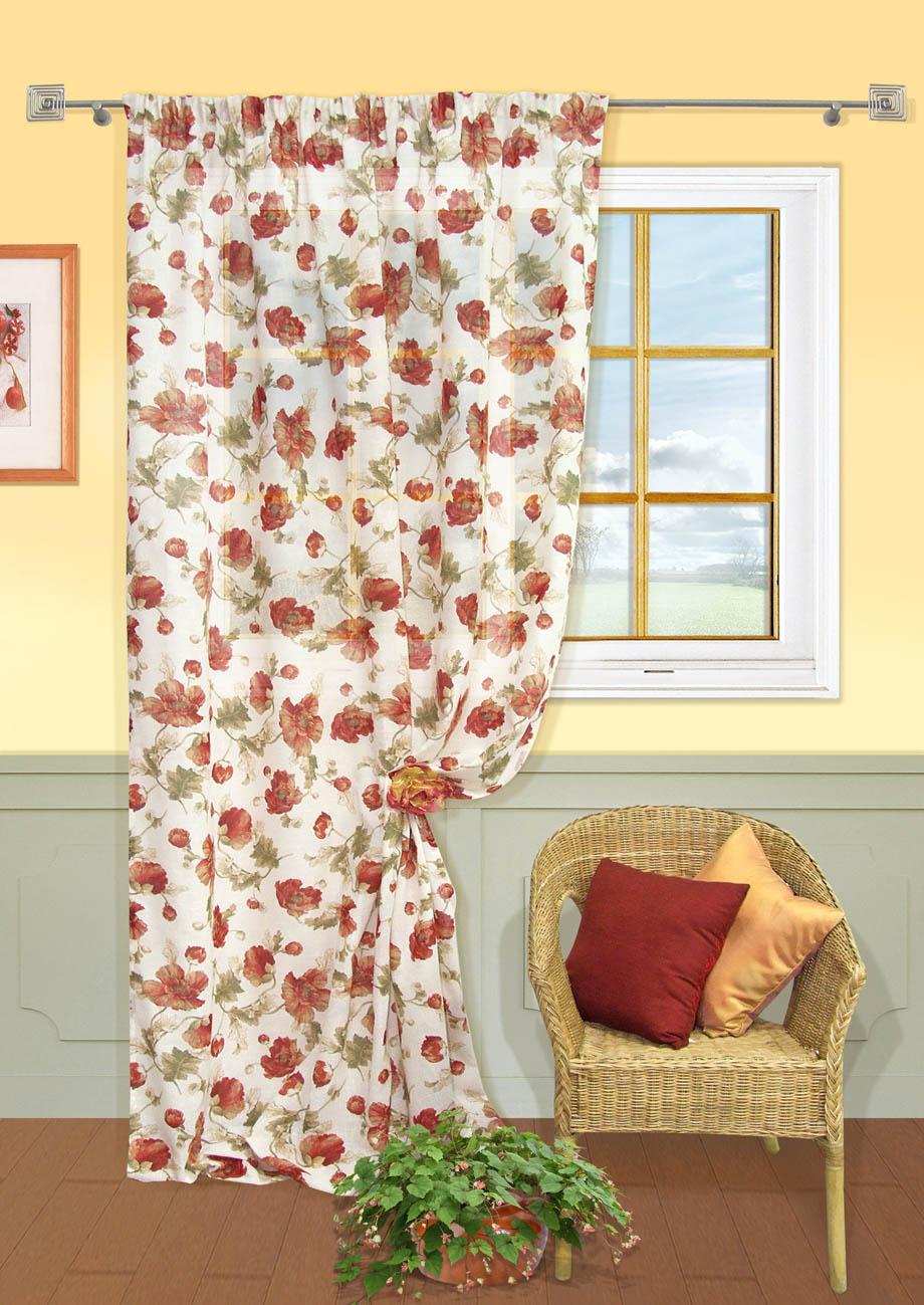 Штора Kauffort Матера, на ленте, цвет: бежевый, красный, высота 275 см. UN111114115718504Роскошная штора Kauffort Матера выполнена из полиэстера и хлопка. Материал является мягким на ощупь. Оригинальная текстура ткани, приятная приглушенная гамма и цветочный принт привлекут к себе внимание и органично впишутся в интерьер помещения. Эта штора будет долгое время радовать вас и вашу семью!Штора крепится на карниз при помощи ленты, которая поможет красиво и равномерно задрапировать верх.