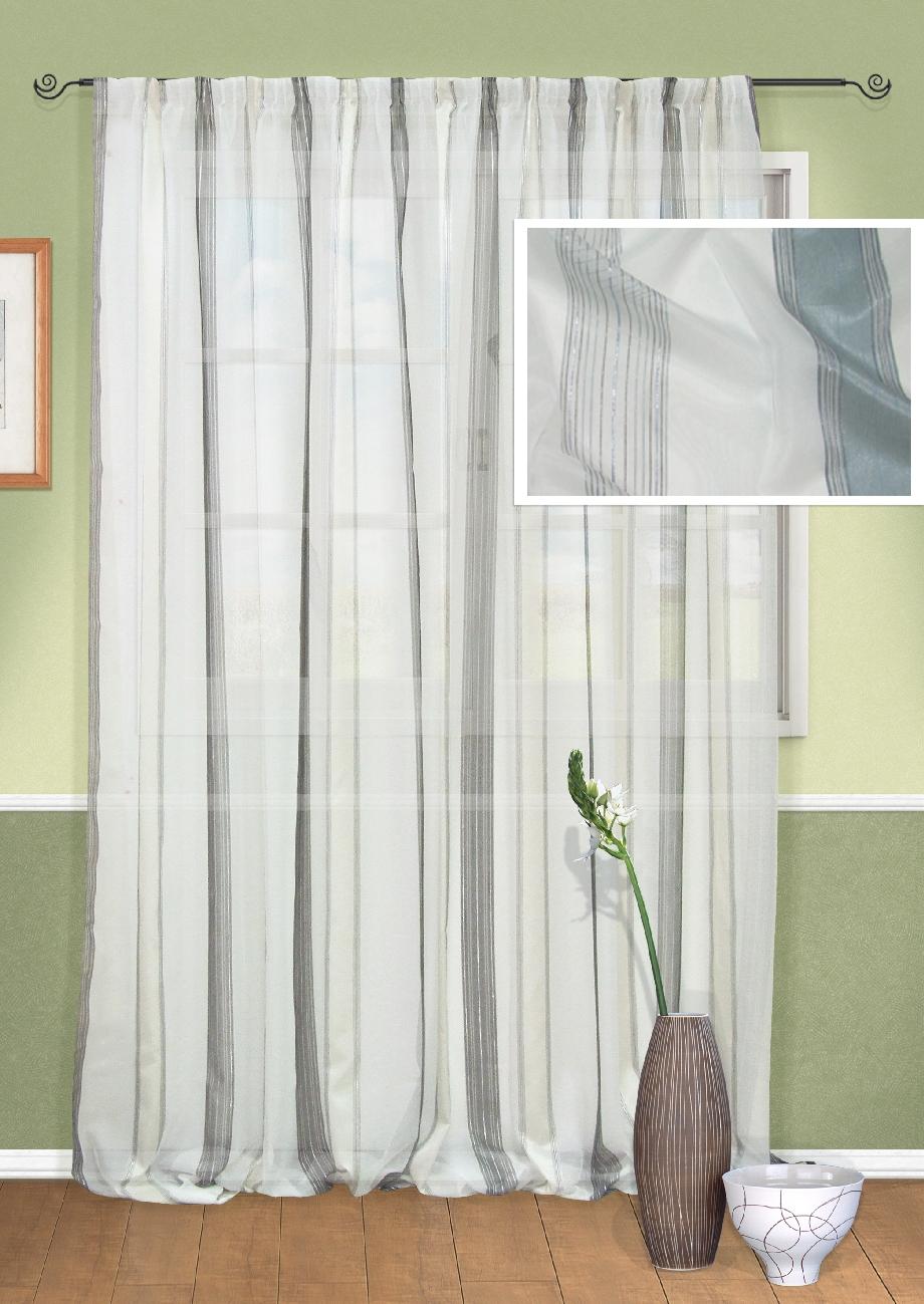 Штора Kauffort Гифу, на ленте, цвет: белый, серый, высота 295 см. UN111122140Шпнс-140-220-2Роскошная штора Kauffort Гифу выполнена из полиэстера. Материал является мягким на ощупь. Полупрозрачная ткань, приятная приглушенная гамма и принт в полоску привлекут к себе внимание и органично впишутся в интерьер помещения. Эта штора будет долгое время радовать вас и вашу семью!Штора крепится на карниз при помощи ленты, которая поможет красиво и равномерно задрапировать верх.