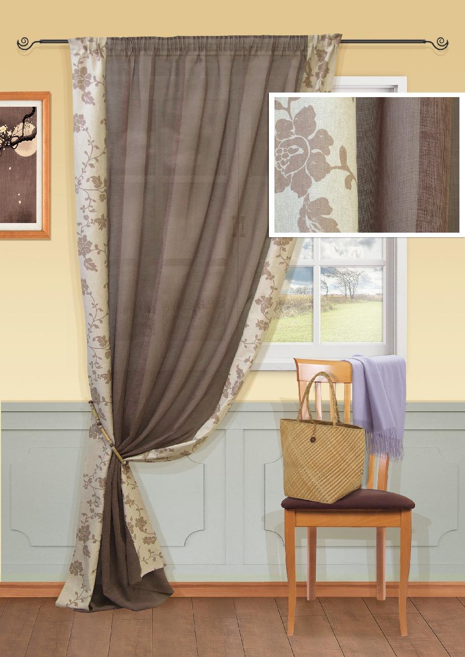 Штора Kauffort Мияко, на ленте, цвет: серый, коричневый, высота 279 см. UN111211160S03301004Роскошная штора Kauffort Мияко выполнена из полиэстера. Материал является плотным и мягким на ощупь.Оригинальная текстура ткани и приятная, приглушенная гамма с цветочным принтом, привлекут к себе внимание и органично впишутся в интерьер помещения. Эта штора будет долгое время радовать вас и вашу семью!Штора крепится на карниз при помощи ленты, которая поможет красиво и равномерно задрапировать верх.