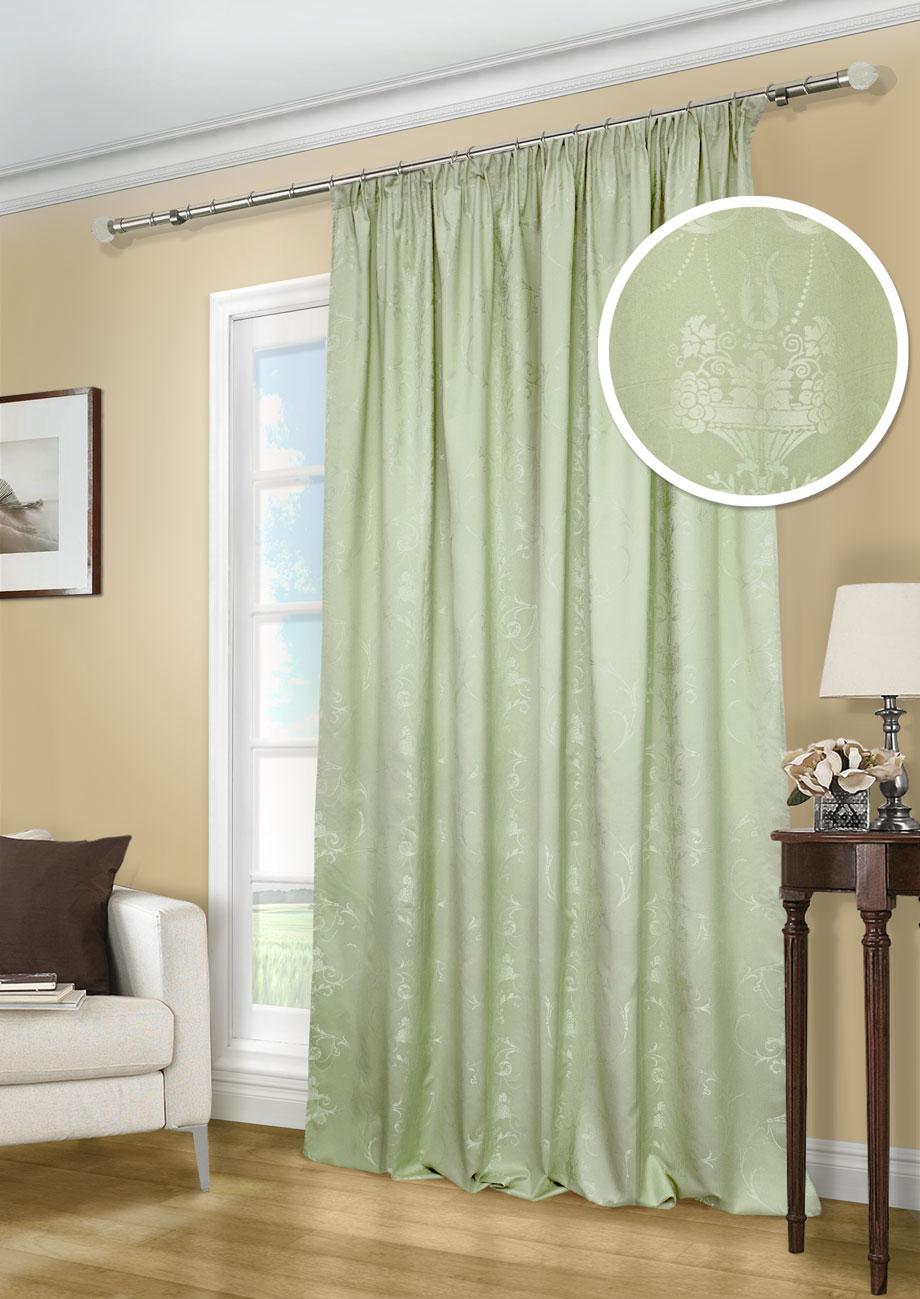 Штора Kauffort Лоренза, на ленте, цвет: зеленый, высота 275 см. UN111249680S03301004Роскошная штора Kauffort Лоренза выполнена из полиэстера и вискозы. Материал плотный и мягкий на ощупь.Оригинальная текстура ткани и красивые узоры, привлекут к себе внимание и органично впишутся в интерьер помещения.Эта штора будет долгое время радовать вас и вашу семью!Штора крепится на карниз при помощи ленты, которая поможет красиво и равномерно задрапировать верх.