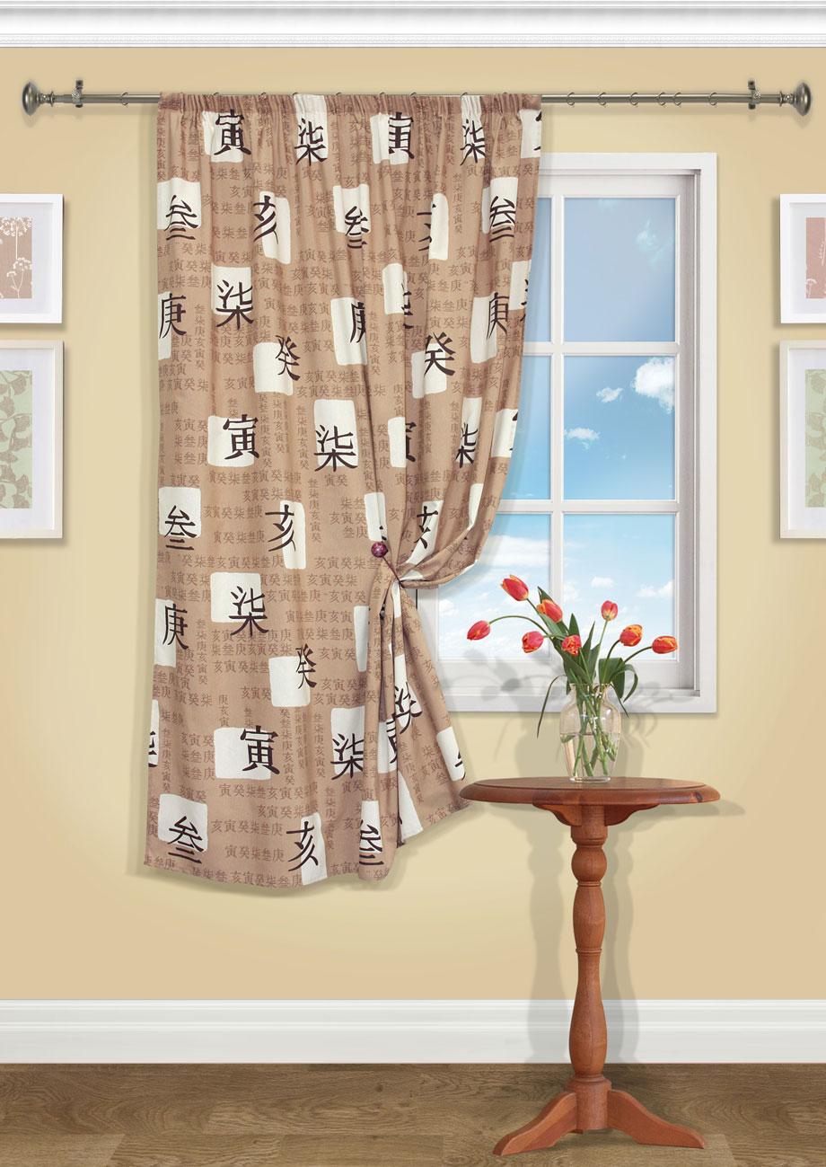 Штора Kauffort Иваки, на ленте, цвет: коричневый, высота 175 см. UN111585130SVC-300Роскошная штора Kauffort Иваки выполнена из полиэстера и хлопка. Материал является плотным и мягким на ощупь.Оригинальная текстура и приятная, приглушенная гамма ткани с изображением иероглифов, привлекут к себе внимание и органично впишутся в интерьер помещения. Эта штора будет долгое время радовать вас и вашу семью!Штора крепится на карниз при помощи ленты, которая поможет красиво и равномерно задрапировать верх.