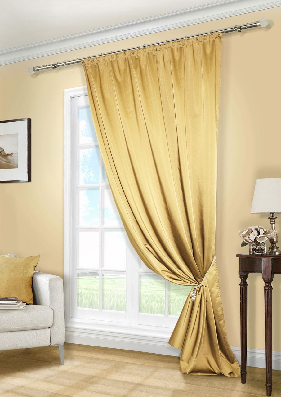 Штора Kauffort Линд, на ленте, цвет: золотистый, высота 280 см. UN111888620K100Роскошная штора Kauffort Линд выполнена из приятного на ощупь полиэстера. Материал плотный, с мягким блеском, шелковистый. Полотно шторы надежно защищает комнату от солнечного света днем и от уличного освещения вечером.Оригинальная текстура ткани и яркая цветовая гамма привлекут к себе внимание и органично впишутся в интерьер помещения. Эта штора будет долгое время радовать вас и вашу семью!Штора крепится на карниз при помощи ленты, которая поможет красиво и равномерно задрапировать верх.