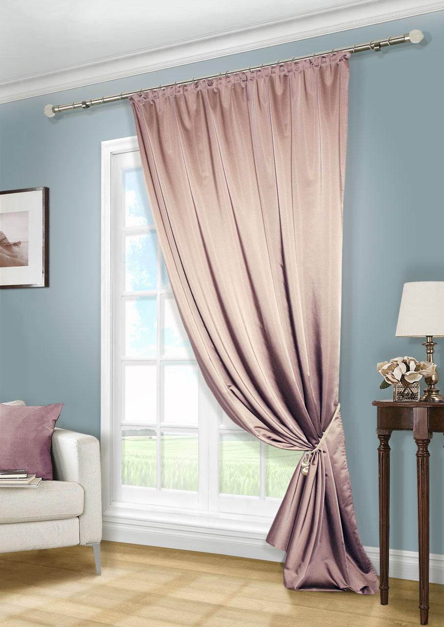 Штора Kauffort Линд, на ленте, цвет: сиреневый, высота 280 см. UN111888672K100Роскошная штора Kauffort Линд выполнена из приятного на ощупь полиэстера. Материал плотный, с мягким блеском, шелковистый. Полотно шторы надежно защищает комнату от солнечного света днем и от уличного освещения вечером.Оригинальная текстура ткани и яркая цветовая гамма привлекут к себе внимание и органично впишутся в интерьер помещения. Эта штора будет долгое время радовать вас и вашу семью!Штора крепится на карниз при помощи ленты, которая поможет красиво и равномерно задрапировать верх.