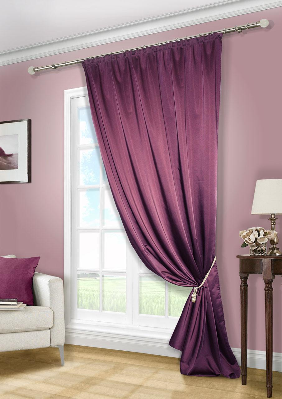 Штора Kauffort Линд, на ленте, цвет: сливовый, высота 280 см. UN111888677K100Роскошная штора Kauffort Линд выполнена из приятного на ощупь полиэстера. Материал плотный, с мягким блеском, шелковистый. Полотно шторы надежно защищает комнату от солнечного света днем и от уличного освещения вечером.Оригинальная текстура ткани и яркая цветовая гамма привлекут к себе внимание и органично впишутся в интерьер помещения. Эта штора будет долгое время радовать вас и вашу семью!Штора крепится на карниз при помощи ленты, которая поможет красиво и равномерно задрапировать верх.