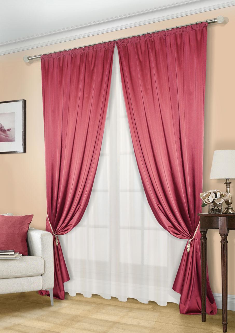Комплект штор Kauffort Линд-C, на ленте, цвет: красный, экрю, высота 260 см. UN123300673K100Роскошный комплект штор Kauffort Линд-C, выполненный из полиэстера, великолепно украсит любое окно. Комплект состоит из 2 штор и тюля. Шторы выполнены из плотной ткани с шелковистой текстурой и приятным блеском. Тюль изготовлен из легкой и воздушной вуали. Тонкое плетение, оригинальный дизайн и нежная цветовая гамма привлекут к себе внимание и органично впишутся в интерьер комнаты. Все предметы комплекта оснащенышторной лентой для красивой сборки.