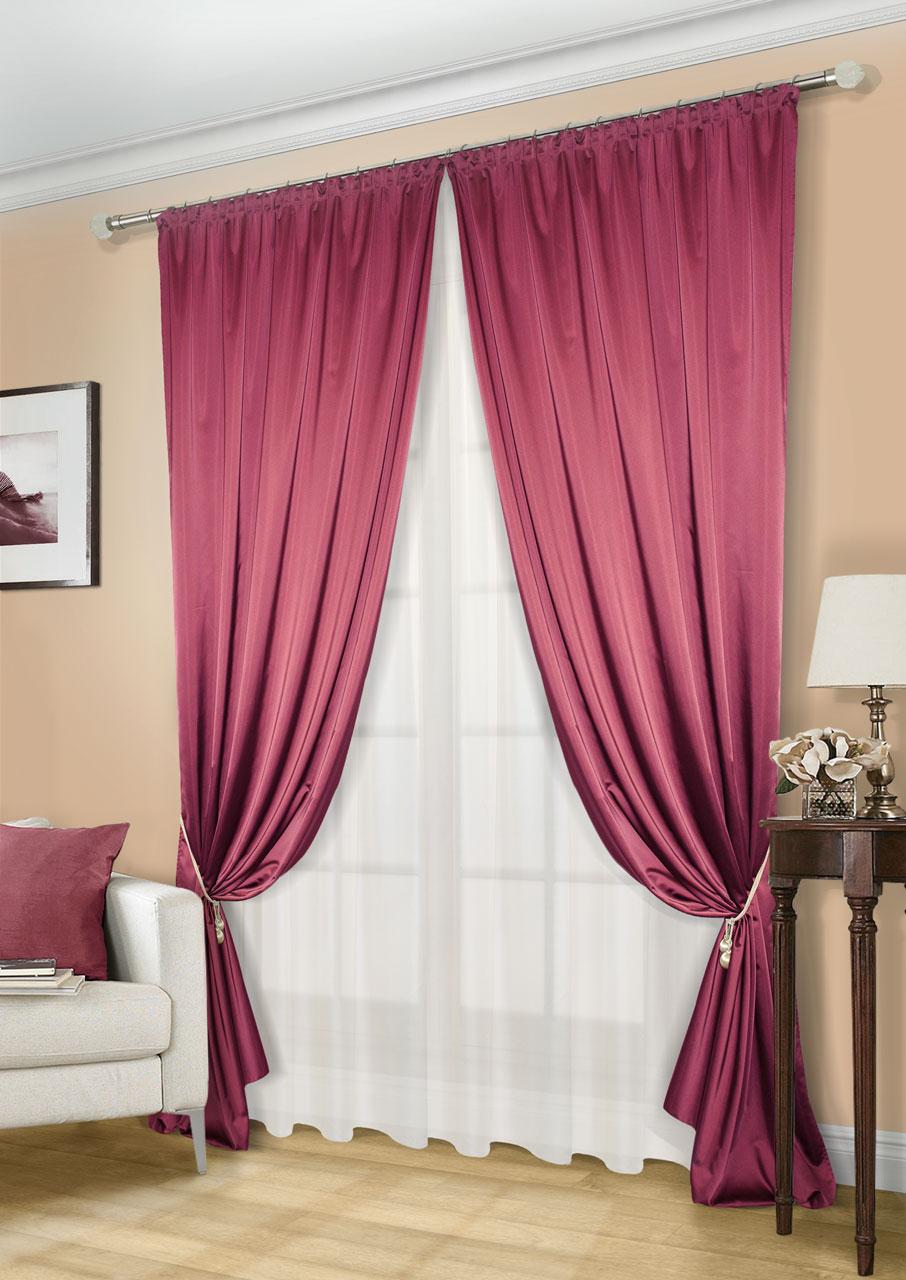 Комплект штор Kauffort Линд-C, на ленте, цвет: бордовый, экрю, высота 260 см. UN123300675S03301004Роскошный комплект штор Kauffort Линд-C, выполненный из полиэстера, великолепно украсит любое окно. Комплект состоит из 2 штор и тюля. Шторы выполнены из плотной ткани с шелковистой текстурой и приятным блеском. Тюль изготовлен из легкой и воздушной вуали. Тонкое плетение, оригинальный дизайн и нежная цветовая гамма привлекут к себе внимание и органично впишутся в интерьер комнаты. Все предметы комплекта оснащенышторной лентой для красивой сборки.