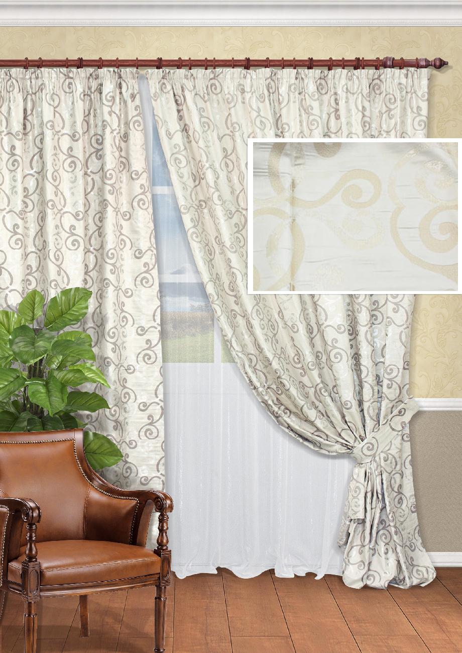 Комплект штор Kauffort Шармони-C, на ленте, цвет: бежевый, высота 270 см. UN123324620K100Роскошный комплект штор Kauffort Шармони-C, выполненный из полиэстера, великолепно украсит любое окно. Комплект состоит из двух штор и тюля. Плотная ткань и приятная, приглушенная гамма с витыми узорами привлекут к себе внимание и органично впишутся в интерьер помещения. Этот комплект будет долгое время радовать вас и вашу семью! Шторы и тюль крепятся на карниз при помощи ленты, которая поможет красиво и равномерно задрапировать верх. Шторы можно зафиксировать в одном положении с помощью подхватов с двумя петельками для настенных крючков.Размер подхвата (Д х Ш): 93 см х 8 см.