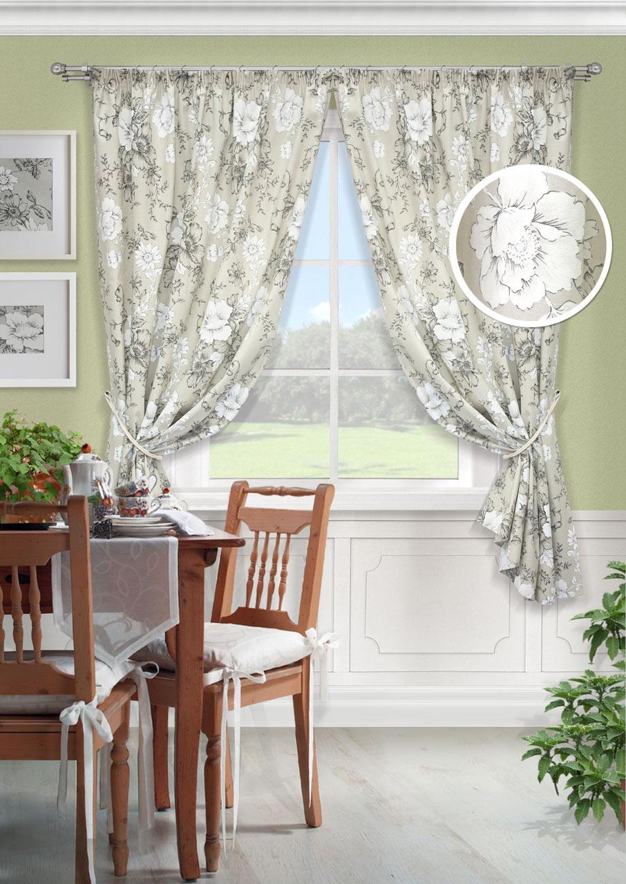 Комплект штор Kauffort Зафиро-С, на ленте, цвет: серый, высота 175 см. UN123333620K100Роскошный комплект штор Kauffort Зафиро-C, выполненный из полиэстера и хлопка, великолепно украсит любое окно. Комплект состоит из двух штор. Плотная ткань и приятная, приглушенная гамма с цветочным принтом привлекут к себе внимание и органично впишутся в интерьер помещения. Этот комплект будет долгое время радовать вас и вашу семью! Шторы крепятся на карниз при помощи ленты, которая поможет красиво и равномерно задрапировать верх. Изделия можно зафиксировать в одном положении с помощью подхватов с двумя петельками для настенных крючков.Материал: 50% хлопок, 50% полиэстер.В комплект входит: Штора: 2 шт. Размер (Ш х В): 136 см х 175 см. Подхват: 2 шт. Размер (Д х Ш): 68 см х 8 см.