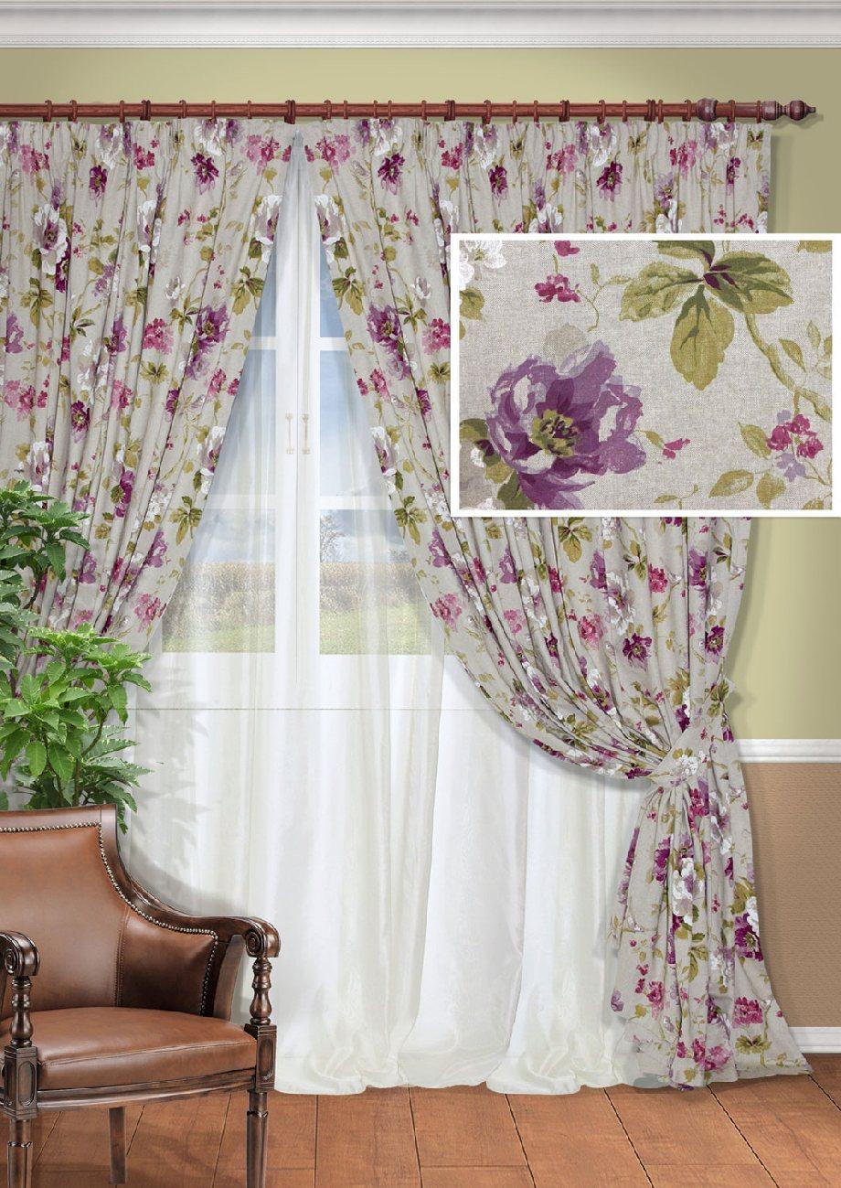 Комплект штор Kauffort Сенигалия, на ленте, цвет: серый, сиреневый, высота 275 см. UN12800261598299571Роскошный комплект штор Kauffort Сенигалия, выполненный из полиэстера и хлопка, великолепно украсит любое окно. Комплект состоит из 2 штор, тюля и 2 подхватов. Изделия выполнены из плотной ткани с цветочным орнаментом.Тонкое плетение, оригинальный дизайн и нежная цветовая гамма привлекут к себе внимание и органично впишутся в интерьер комнаты. Все предметы комплекта - на шторной ленте для собирания в сборки.