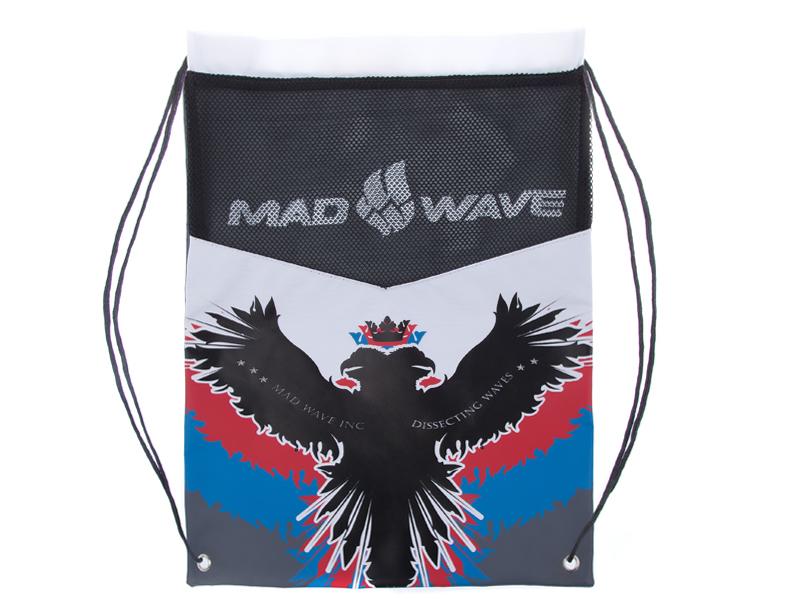 Мешок для инвентаря Mad Wave, цвет: рисунок, 48 см х 37,5 см. M1113 03 0 00WSF 0246Мешок Mad Wave предназначен для хранения мокрого инвентаря и спортивной одежды. Фиксируется плотным шнуром, который одновременно служит лямками для переноски на спине. Материал не впитывает воду и быстро сохнет. Мешок украшен российской символикой.