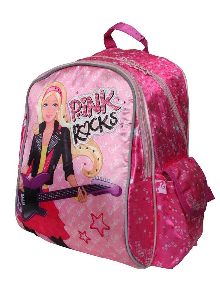 Рюкзак, мягкая спинка с вентиляционной сеткой Barbie72523WDСпинка сделана из мягкого материала с вентиляционной сеткой. Рюкзак имеет текстильную ручку с резиновым захватом, вместительным фронтальный карман на молнии. и два боковых кармана: один с клапаном на липучке, второй карман из сетки с утягивающей резинкой (для бутылочки с напитком).