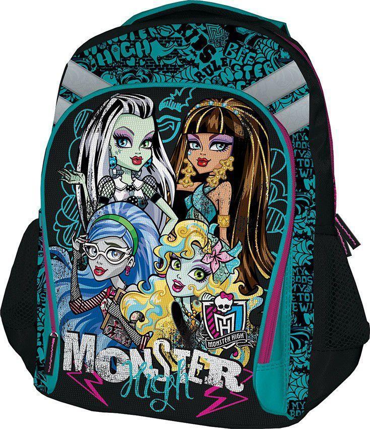Рюкзак Monster High, цвет: зеленый, черный. MHBB-MT1-988MRS-547-1/3Спинка рюкзака Monster High выполнена с использованием мягкого материала с вентиляционной сеткой. Лямки рюкзака специальной S-образной формы с поролоном и воздухообменной сеткой регулируются по длине. Данные конструктивные особенности помогут обеспечить максимальный комфорт.