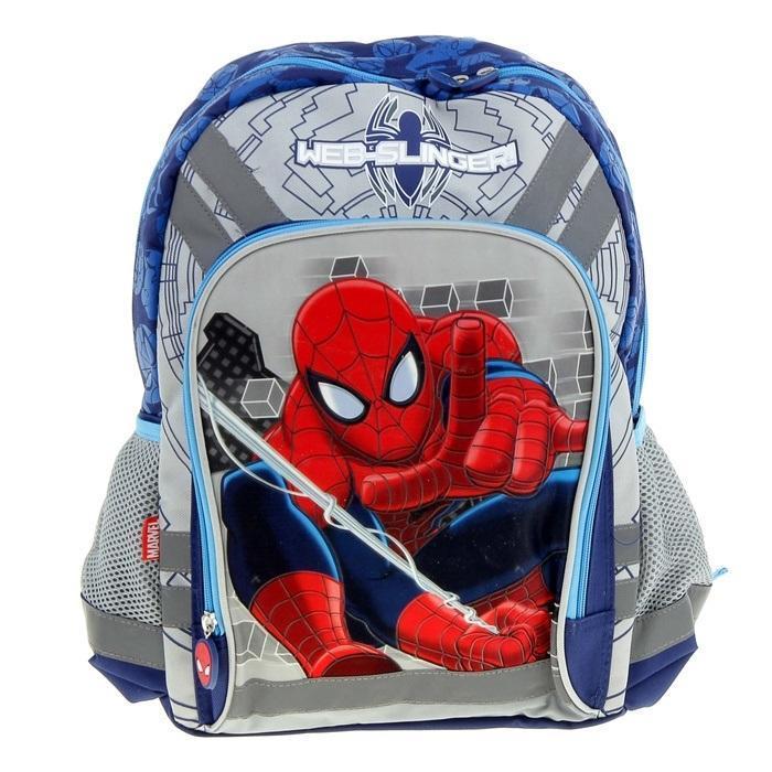 Рюкзак, мягкая спинка с вентиляционной сеткой, размер 40 х 30 х 13 см , Spider-manLMSQ128Спинка выполнена с использованием мягкого материала с вентиляционной сеткой. Лямки рюкзака специальной S-образной формы с поролоном и воздухообменной сеткой регулируются по длине. Данные конструктивные особенности помогут обеспечить максимальный комфорт при ношении рюкзака за спиной ребенку любой комплекции. Основное отделение с двумя разделителями. Вместительный карман на фронтальной стенке рюкзака на молнии. Два боковых кармана из сетки с утягивающей резинкой.