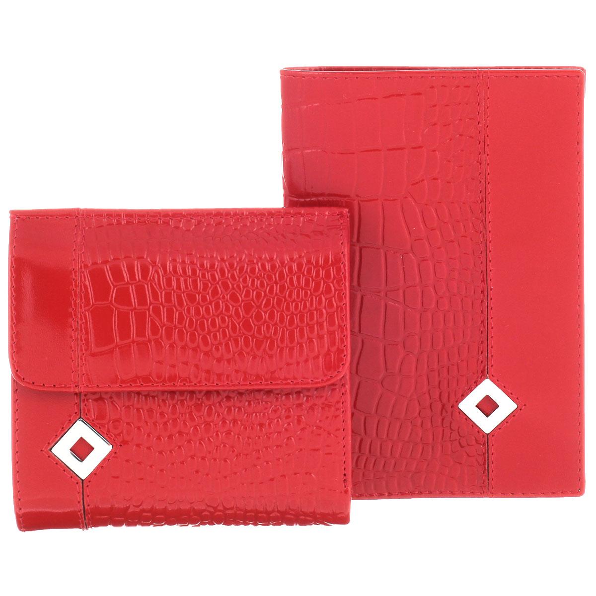 Подарочный набор Dimanche Papillon Rouge: обложка для паспорта, кошелек, цвет: красный. 101/05AQYHA03387-KRP0Изысканный набор Dimanche Papillon Rouge состоит из обложки для паспорта и кошелька. Обе модели изготовлены из высококачественной натуральной кожи и декорированы тиснением под кожу рептилии, а также металлической пластиной в форме ромба на лицевой стороне. Обложка для паспорта с внутренней стороны отделана атласным текстилем. Внутри - два прозрачных боковых кармана из пластика, которые обеспечат надежную фиксацию вашего документа. Кошелек с обеих сторон закрывается хлястиками на кнопки. Внутри - два отделения для купюр, врезной карман на молнии, три боковых кармана (один - с окошком из прозрачного пластика) и три прорези (одна предназначена для SIM-карты). Лицевая сторона изделия дополнена отсеком для мелочи.Набор упакован в стильные фирменные коробки. Роскошный набор Dimanche Papillon Rouge  подчеркнет вашу индивидуальность и безупречный вкус, а также станет замечательным подарком человеку, ценящему качественные и практичные вещи.