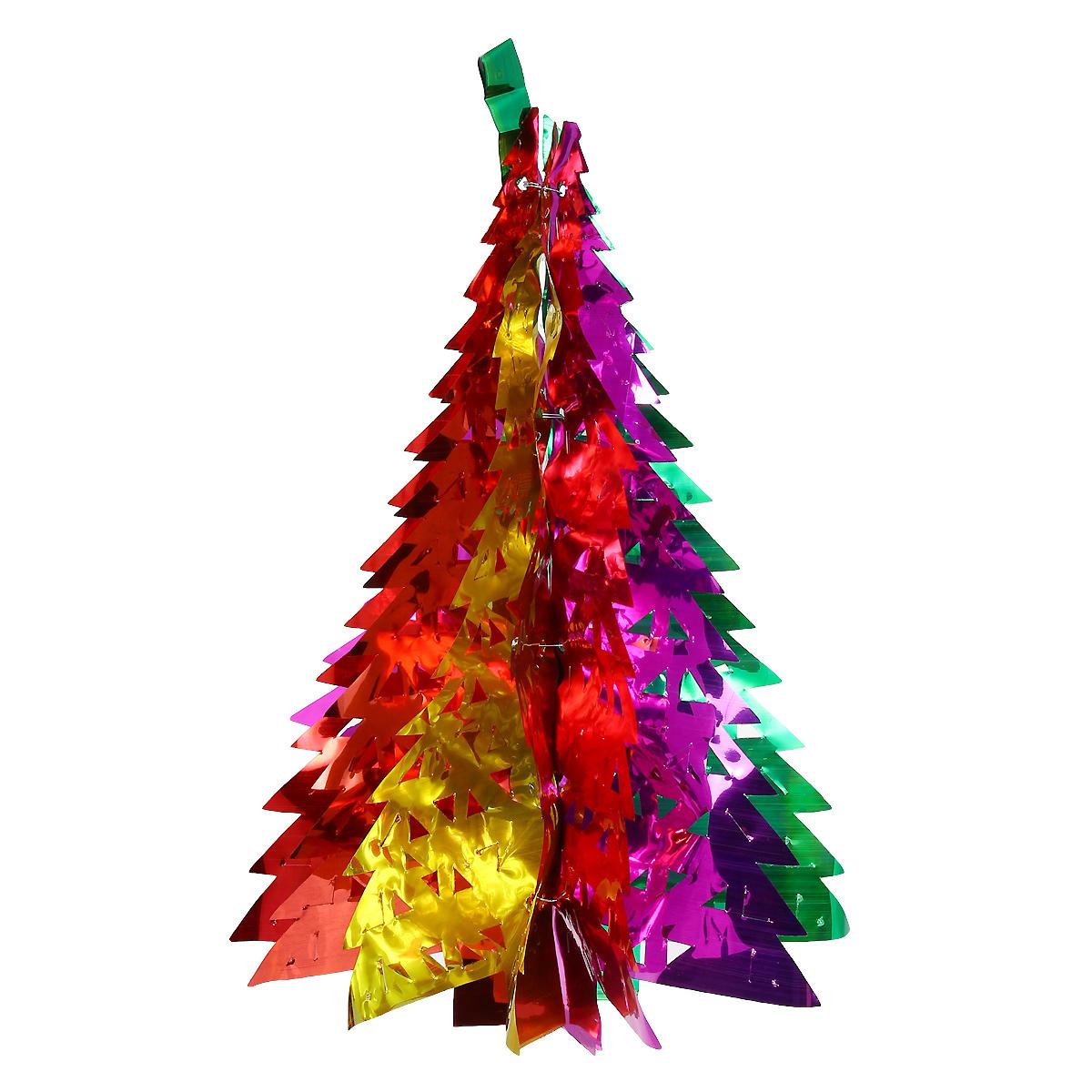 Новогодняя гирлянда Елка, цвет: мульти, 36 см х 12,5 см. 3097125906Новогодняя гирлянда прекрасно подойдет для декора дома или офиса. Украшение выполнено из разноцветной металлизированной фольги. С помощью специальных петелек гирлянду можно повесить в любом понравившемся вам месте. Украшение легко складывается и раскладывается. Новогодние украшения несут в себе волшебство и красоту праздника. Они помогут вам украсить дом к предстоящим праздникам и оживить интерьер по вашему вкусу. Создайте в доме атмосферу тепла, веселья и радости, украшая его всей семьей.