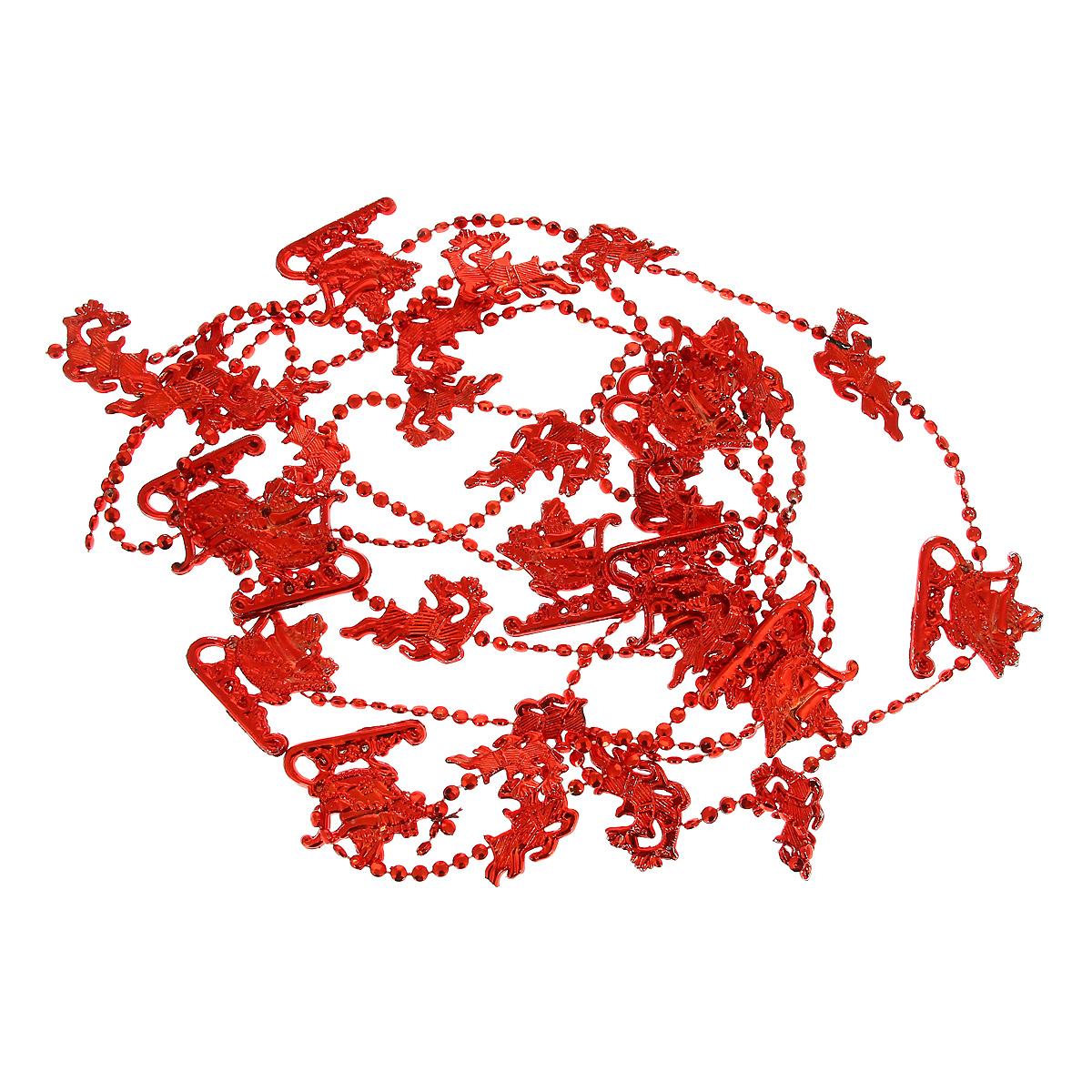 Новогодняя гирлянда Сани, цвет: красный, 270 см. 3446319201Новогодняя гирлянда прекрасно подойдет для декора дома или офиса. Украшение выполнено из разноцветной металлизированной фольги. С помощью специальных петелек гирлянду можно повесить в любом понравившемся вам месте. Украшение легко складывается и раскладывается. Новогодние украшения несут в себе волшебство и красоту праздника. Они помогут вам украсить дом к предстоящим праздникам и оживить интерьер по вашему вкусу. Создайте в доме атмосферу тепла, веселья и радости, украшая его всей семьей.