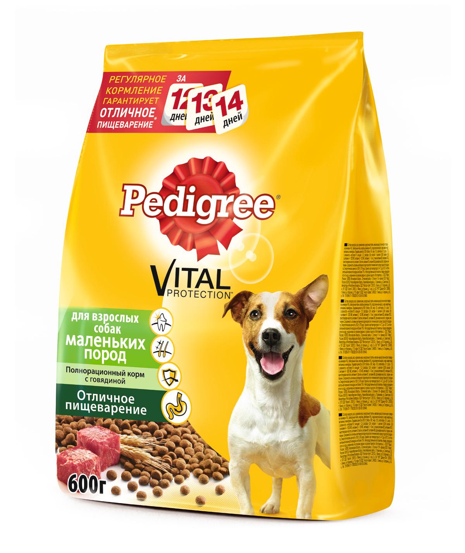 Корм сухой Pedigree для взрослых собак маленьких пород, с говядиной, 600 г37962Сухой корм Pedigree для взрослых собак весом меньше 15 кг - этополнорационный корм с говядиной, который создан с учетом потребностейвзрослых собак маленьких и карликовых пород. Он состоит из качественных инатуральных ингредиентов: мяса, овощей, злаков. Корм способствуетздоровому росту и гармоничному развитию вашего питомца. Он создан с учетомособенностей пищеварения собаки, легко усваивается и обеспечиваетправильную работу желудочно-кишечного тракта. Состав: кукуруза, рис, пшеница, куриная мука, мясная мука (в том числе говядинаминимум 4%), свекольный жом, подсолнечное масло, жир животный, пивныедрожжи, витамины и минералы. Пищевая ценность (100 г): белки 21 г, жиры 14 г, зола 7 г, клетчатка 4 г,влажность не более 10 г, кальций 1,3 г, фосфор 0,8 г, натрий 0,3 г, калий 0,58 г,магний 0,1 г, цинк 20 г, медь 1,5 г, витамин А 1500 МЕ, витамин Е 20 мг, витаминD3 120 МЕ, витамины B1, B2, B4, B5, B12, ниацин, омега-6, омега-3,полиненасыщенные жирные кислоты. Энергетическая ценность (100 г): 365 ккал. Вес: 600 г. Товар сертифицирован.