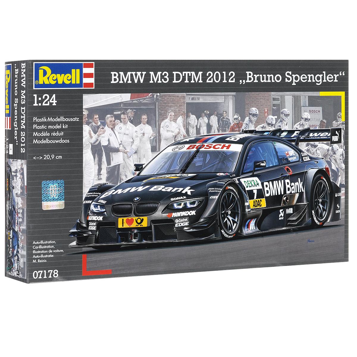 """Сборная модель Revell """"Гоночный автомобиль BMW M3 DTM 2012 """"Bruno Spengler"""" поможет вам и вашему ребенку придумать увлекательное занятие на долгое время. Набор включает в себя 131 пластиковый элемент, из которых можно собрать достоверную уменьшенную копию одноименного автомобиля. BMW M3 - высокотехнологичная спортивная версия компактных автомобилей BMW 3 серии от BMW M GmbH. Модели M3 сделаны на базе E30, E36, E46 и E90/E92/E93 3-ей серии. Основные отличия от """"стандартных"""" автомобилей 3 серии включают более мощный двигатель, улучшенная подвеска, более агрессивный и аэродинамичный кузов, множественные акценты как в интерьере так и в экстерьере на принадлежность к линейке """"M""""/Motorsport. Также в наборе схематичная инструкция по сборке. Процесс сборки развивает интеллектуальные и инструментальные способности, воображение и конструктивное мышление, а также прививает практические навыки работы со схемами и чертежами. Уровень сложности: 4. ..."""