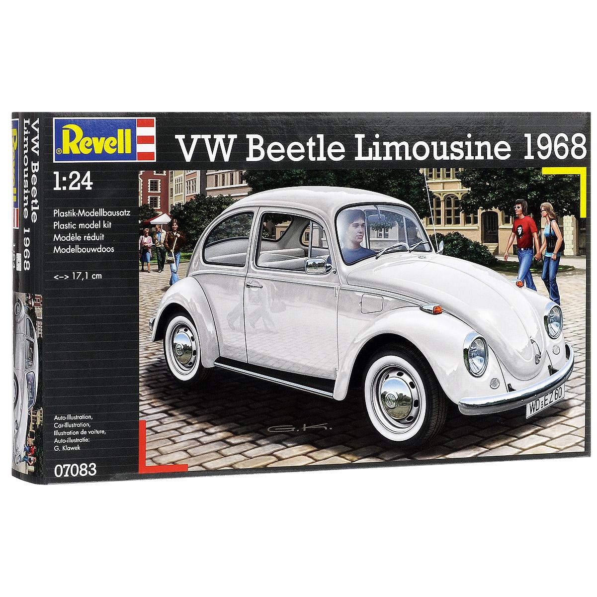 """Сборная модель Revell """"Автомобиль VW Beetle Limousine 1968"""" поможет вам и вашему ребенку придумать увлекательное занятие на долгое время. Набор включает в себя 125 пластиковых элементов, из которых можно собрать достоверную уменьшенную копию одноименного автомобиля. Сборная модель автомобиля Volkswagen Beetle Limousine еще называют """"Жук"""". Volkswagen """"Жук"""" в различных модификациях выпускался с 1938 по 2003 годы. За это время было выпущено около 21,5 миллиона """"жуков"""". Также в наборе схематичная инструкция по сборке. Процесс сборки развивает интеллектуальные и инструментальные способности, воображение и конструктивное мышление, а также прививает практические навыки работы со схемами и чертежами. Уровень сложности: 3. УВАЖАЕМЫЕ КЛИЕНТЫ! Обращаем ваше внимание на тот факт, что элементы для сборки не покрашены. Клей и краски в комплект не входят."""