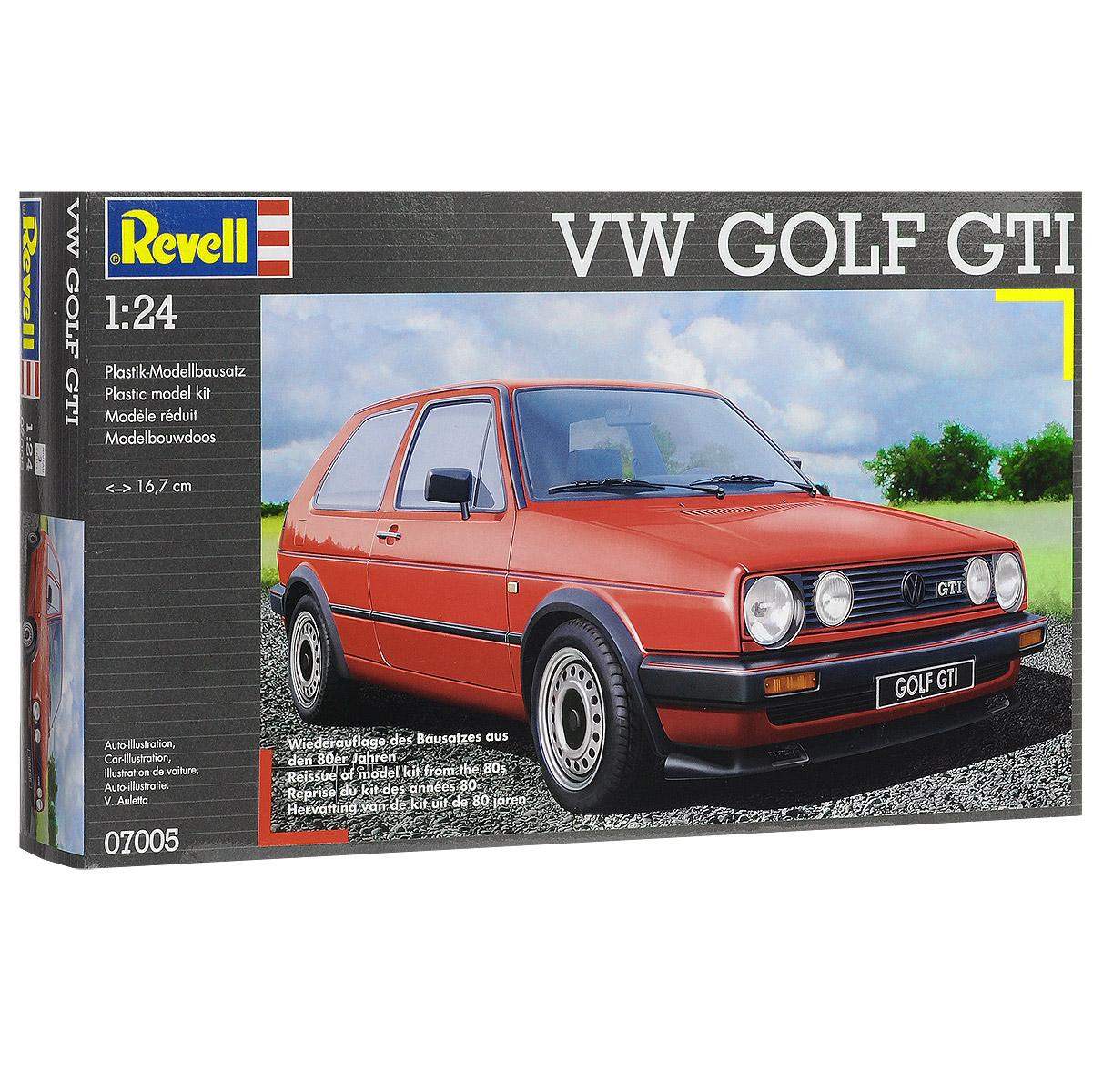 """Сборная модель Revell """"Автомобиль Volkswagen VW Golf GTI"""" поможет вам и вашему ребенку придумать увлекательное занятие на долгое время. Набор включает в себя 67 пластиковых элементов, из которых можно собрать достоверную уменьшенную копию одноименного автомобиля. Volkswagen Golf - автомобиль немецкой компании Volkswagen. Гольф стал самой успешной моделью Фольксвагена, занимает третье место среди самых продаваемых автомобилей, является лидером продаж в Европе. Является родоначальником гольф-класса. Volkswagen Golf был признан Импортным автомобилем года в Японии (2004-2005). В 2013 году Volkswagen Golf седьмого поколения на ежегодном конкурсе """"Всемирный автомобиль года"""" (World Car of the Year или WCotY) был назван лучшим автомобилем года. Также в наборе схематичная инструкция по сборке. Процесс сборки развивает интеллектуальные и инструментальные способности, воображение и конструктивное мышление, а также прививает практические навыки работы со..."""