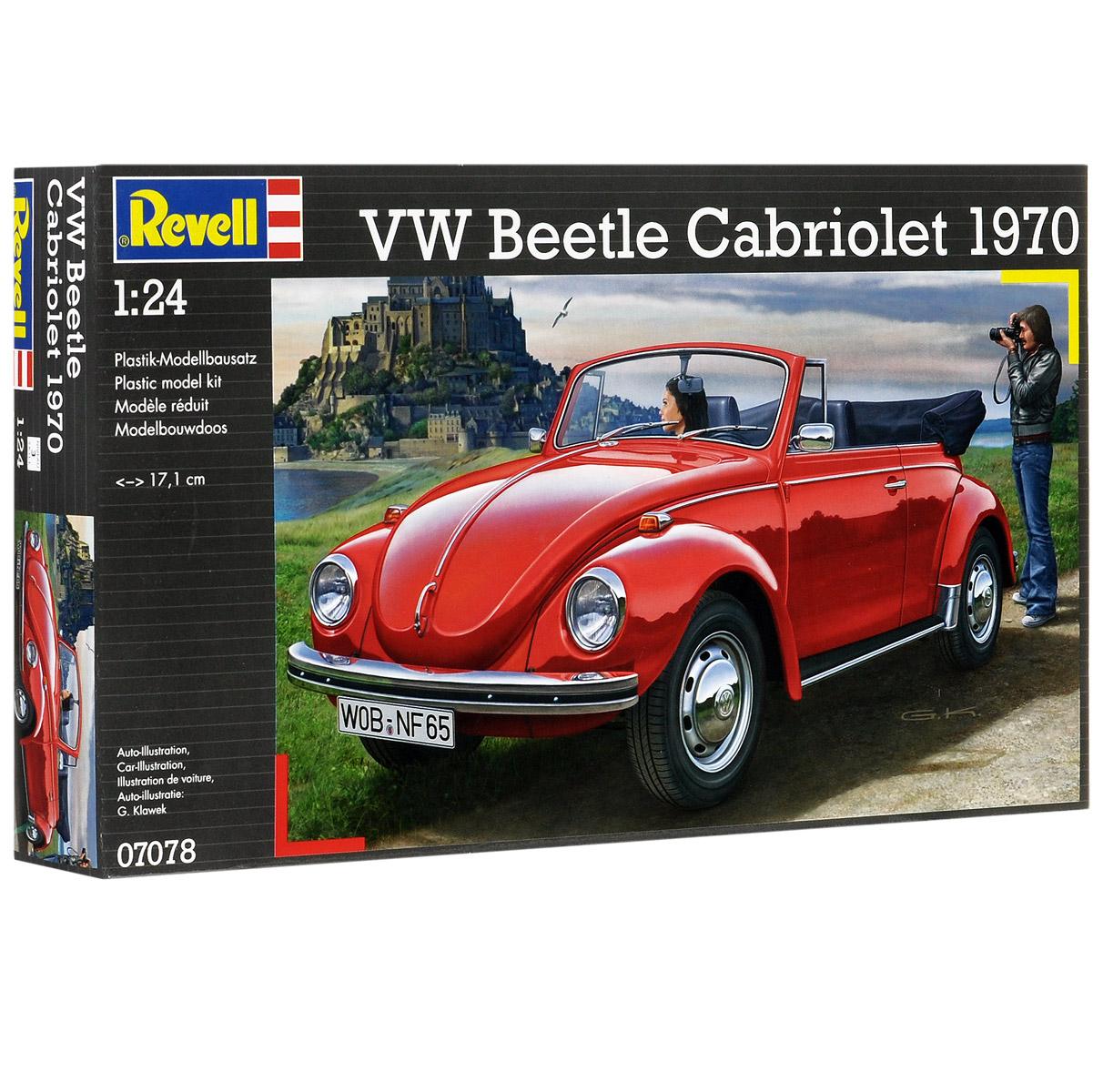 """Сборная модель Revell """"Автомобиль VW Beetle Cabriolet 1970"""" поможет вам и вашему ребенку придумать увлекательное занятие на долгое время. Набор включает в себя 122 пластиковых элемента, из которых можно собрать достоверную уменьшенную копию одноименного автомобиля. Volkswagen Beetle - компактный автомобиль немецкой компании Volkswagen. Volkswagen """"Жук"""" в различных модификациях выпускался с 1938 по 2003 годы. За это время было выпущено около 21,5 миллиона """"жуков"""". Также в наборе схематичная инструкция по сборке. Процесс сборки развивает интеллектуальные и инструментальные способности, воображение и конструктивное мышление, а также прививает практические навыки работы со схемами и чертежами. Уровень сложности: 3. УВАЖАЕМЫЕ КЛИЕНТЫ! Обращаем ваше внимание на тот факт, что элементы для сборки не покрашены. Клей и краски в комплект не входят."""
