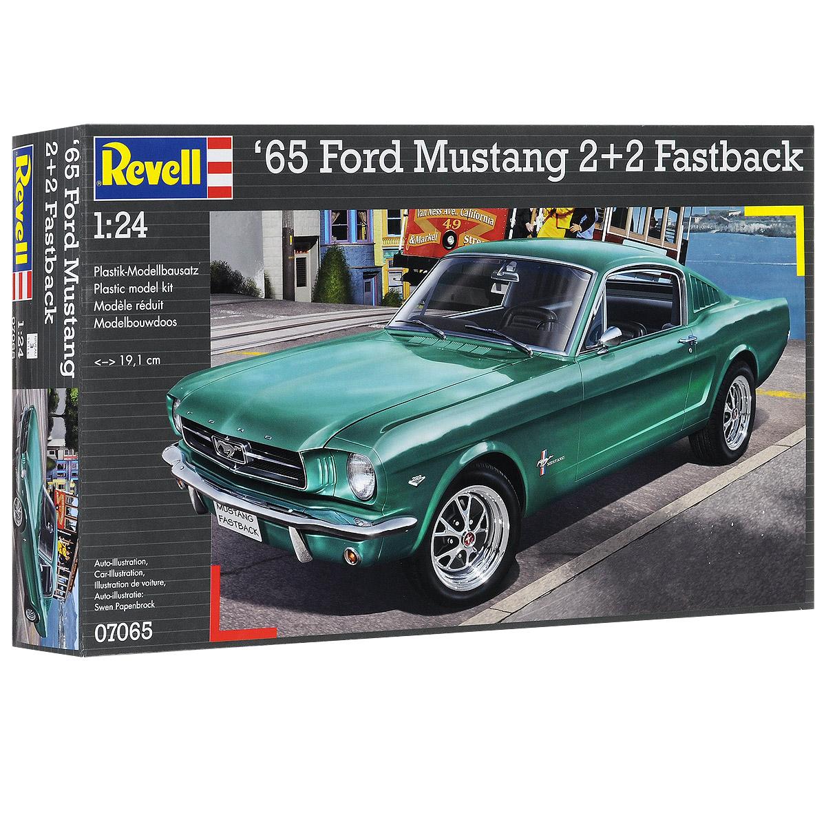 """Сборная модель Revell """"Автомобиль Ford Mustang 2+2 Fastback"""" поможет вам и вашему ребенку придумать увлекательное занятие на долгое время. Набор включает в себя 82 пластиковых элемента, из которых можно собрать достоверную уменьшенную копию одноименного автомобиля. Ford Mustang - культовый автомобиль класса Pony Car производства Ford Motor Company. Изначальный вариант был создан на базе агрегатов семейного седана Ford Falcon (создатель Ли Якокка и его команда). Первый серийный Mustang сошел с конвейера 9 марта 1964 года как модель 1965 года (в среде коллекционеров относительно """"Мустангов"""" выпуска до осени 1964 года употребляется неофициальное обозначение """"модель 1964 1/2""""). 17 апреля автомобиль был представлен публике в Нью-Йорке, а 19 апреля - показан по всем трем американским телевещательным сетям. Продвижение автомобиля сопровождалось активной рекламной кампанией. Это была одна из самых удачных премьер в истории автомобилестроения. За первые 18 месяцев было продано более..."""
