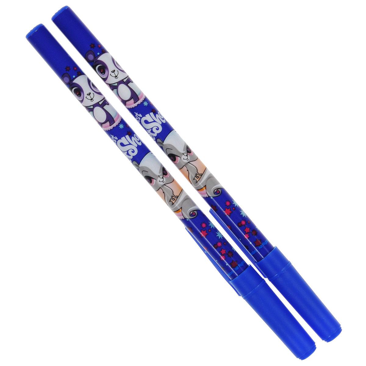 Ручки шариковые, цвет пасты синий, 2 шт. Littlest Pet Shop Поверхность: Бумага. Упаковка: .