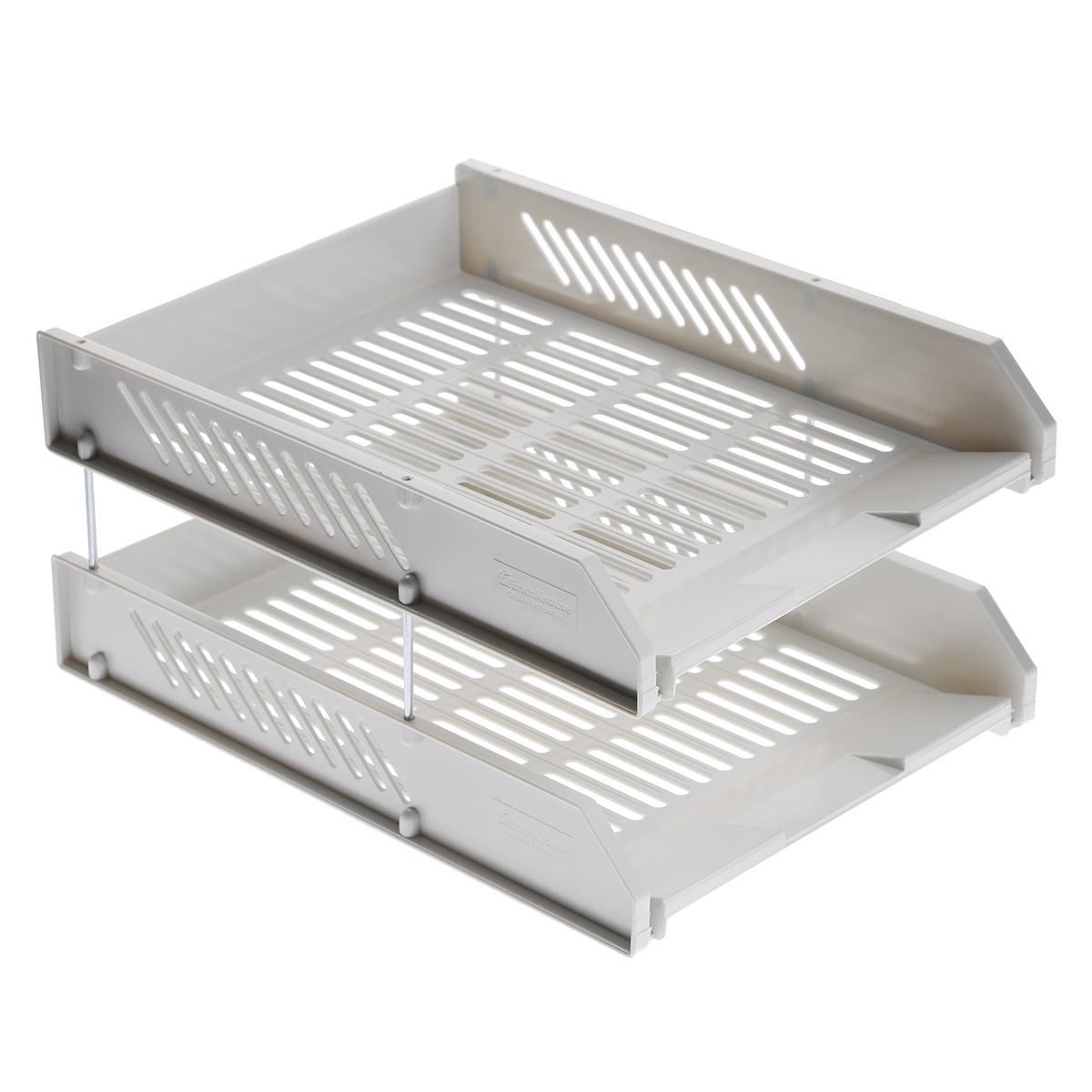 Набор горизонтальных лотков для бумаги Erich Krause, цвет: серый, 2 шт4613Сетчатый горизонтальные лотки для бумаги Erich Krause предназначены для хранения документов, рабочих бумаг, журналов и каталогов. Набор включает 2 лотка из высококачественного серого пластика. Лотки устанавливаются друг на друга и скрепляются посредством металлических стержней со съемными пластиковыми наконечниками.Горизонтальные лотки для бумаги Erich Krause помогут удобно организовать пространство в вашем офисе. Характеристики:Материал: металл, пластик. Размер лотка: 34 см x 26 см x 6 см. Длина стержня: 7 см. Бренд Erich Krause - это полный ассортимент канцтоваров для офиса и школы, который гарантирует безукоризненное исполнение разных задач в процессе работы или учебы, органично и естественно сопровождает вас день за днем. Для миллионов покупателей во всем мире продукция Erich Krause стала верным и надежным союзником в реализации любых проектов и самых амбициозных планов. Высококвалифицированные специалисты Erich Krause прилагают все свои усилия, что бы каждый продукт компании прослужил максимально долго и неизменно радовал покупателей удобством и легкостью использования, надежностью в эксплуатации и прекрасным дизайном.