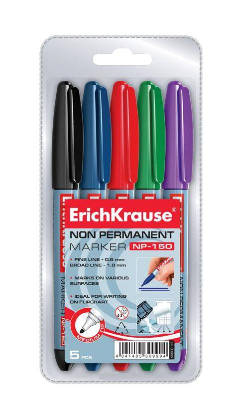 Набор неперманентных маркеров Erich Krause NP-150, 5 штFS-00897Маркеры Erich Krause NP-150 - это универсальные многоцелевые маркеры эргономичной формы. Удобно лежат в руке. Рассчитаны для мобильного использования. Имеют клип для переноски. Маркеры предназначены для письма практически на всех поверхностях: бумага, картон, пленка, стекло, пластик, полистирол, фарфор. В наборе маркеры синено, красного, зеленого, фиолетового цветов. Характеристики:Размер маркера: 14 см x 1,2 см x 1,2 см. Толщина линии: 0,5 мм - 1,8 мм.Размер упаковки: 7,5 см x 14,5 см x 1,5 см.Изготовитель: Малайзия.