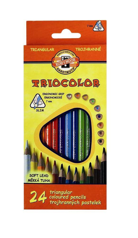 Набор трехгранных цветных карандашей Triocolor, 24 цвета. 3134/24C13S041944Характеристики: Длина карандаша: 17,5 см. Материал:дерево, грифель. Размер упаковки: 9,5 см х 21 см х 2 см.