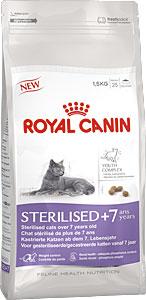 Корм сухой Royal Canin Sterilised 7+,для стерилизованных кошек в возрасте старше 7 лет, 1,5 кг4566Сухой корм Royal Canin Sterilised 7+ - корм для стерилизованных кошек старше 7 лет. Стерилизация увеличивает среднюю продолжительность жизни кошки, но также повышает риски возрастных заболеваний. Например, у стерилизованных кошек с возрастом повышается риск образования мочевых камней.Поддержание здоровья в старости.Корм помогает сохранять молодость кошки благодаря запатентованному* комплексу витаминов и питательных веществ с антиоксидантными свойствами и полифенолам зеленого чая и винограда.Хондропротекторные вещества и незаменимые жирные кислоты EPA и DHA, содержащиеся в этом продукте, поддерживают здоровье суставов кошки. Контроль веса тела: корм помогает сохранять оптимальный вес стерилизованной кошки за счет контроля потребления калорий и крахмала. Добавление L-карнитина (100 мг/кг) способствует мобилизации жировых отложений. Обеспечение здоровья почек – адекватное содержание фосфора: адаптированный уровень фосфора (0,79%) способствует поддержанию здоровья почек кошки. Состав: кукуруза, дегидратированные белки животного происхождения (птица), изолят растительного белка, растительная клетчатка, животные жиры, гидролизат белков животного происхождения, кукурузная клейковина, минеральные вещества, пшеница, рис, свекольный жом, дрожжи, рыбий жир, фруктоолигосахариды, соевое масло, экстракты зеленого чая и винограда (источник полифенолов), гидролизат из панциря ракообразных (источник глюкозамина), экстракт бархатцев прямостоячих (источник лютеина), гидролизат из хряща (источник хондроитина). Добавки (на 1 кг):Витамин А – 19000 МЕ, витамин D3 – 1000 МЕ, железо – 35 мг, йод – 3,5 мг, марганец – 45 мг, цинк – 136 мг, селен – 0,06 мг, консервант - сорбат калия, антиоксиданты - пропилгаллат, БГА.Товар сертифицирован.